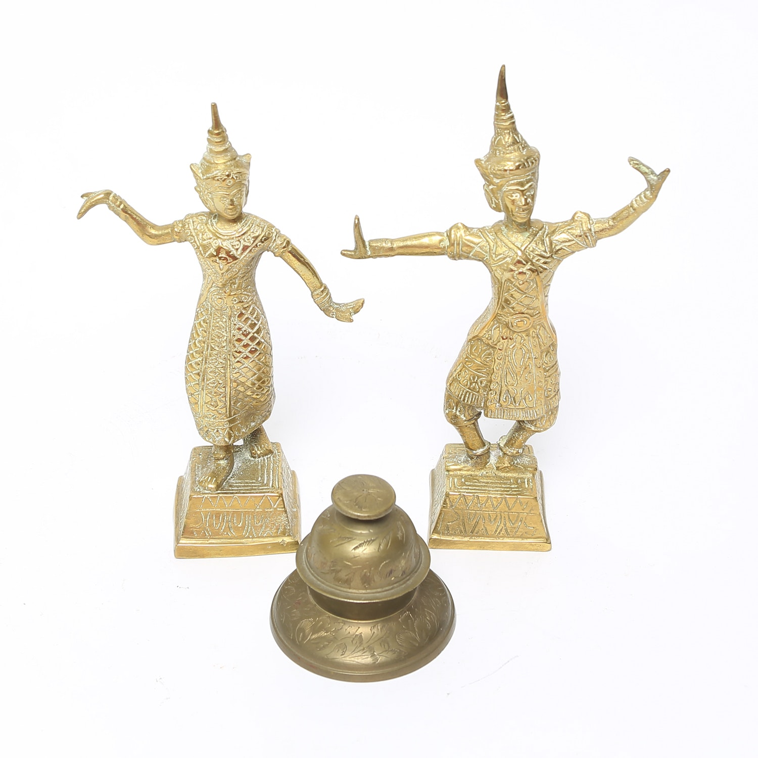 Grouping of Brass Indonesian Dancers and Bell