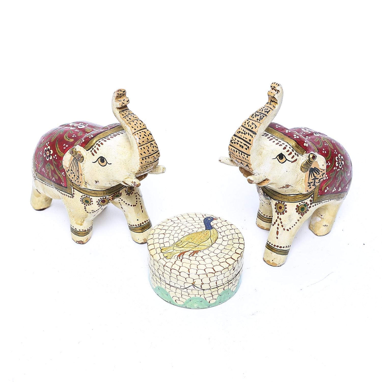 Paper Mache Elephants and Trinket Box