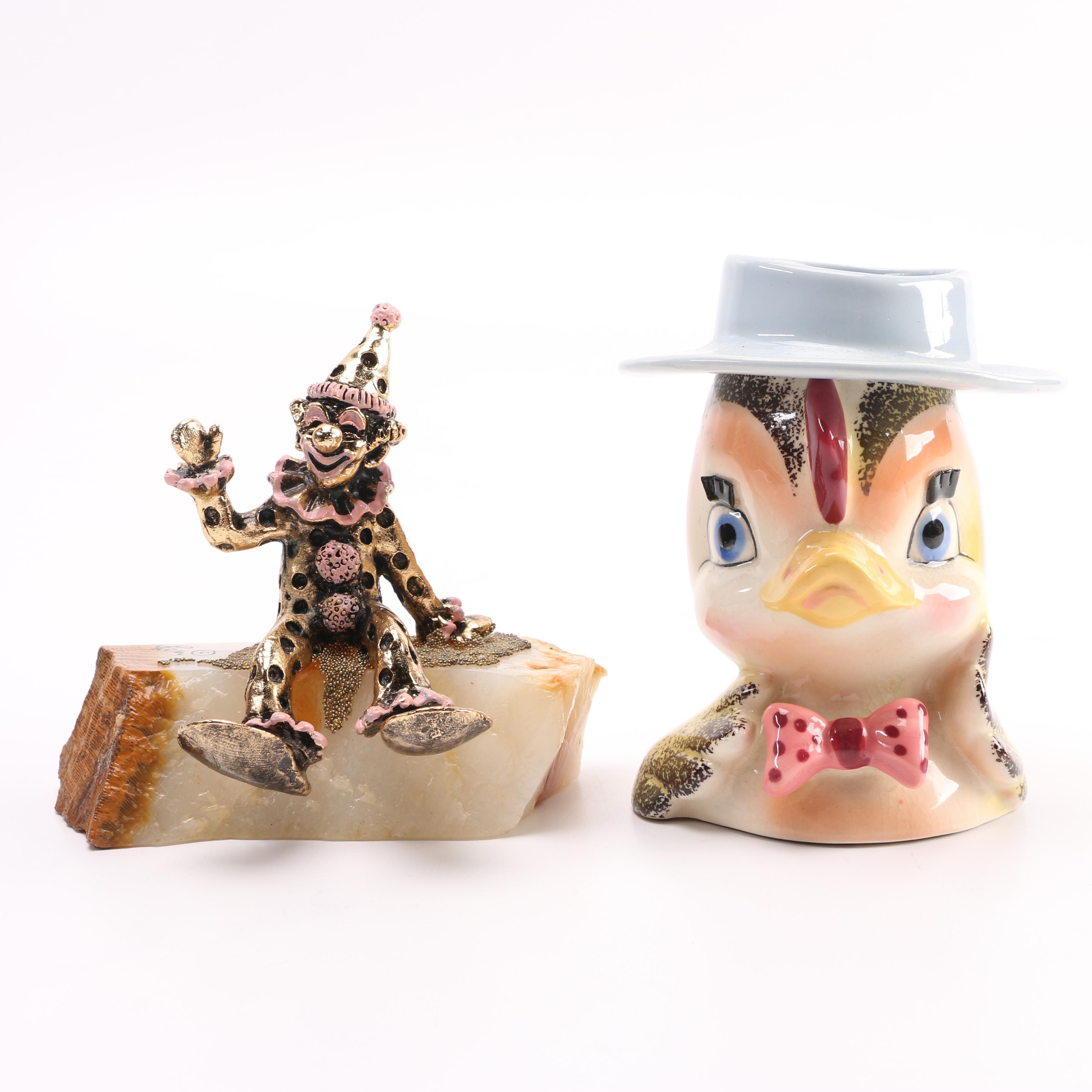 Cast Metal Clown Figurine and Duck Vase
