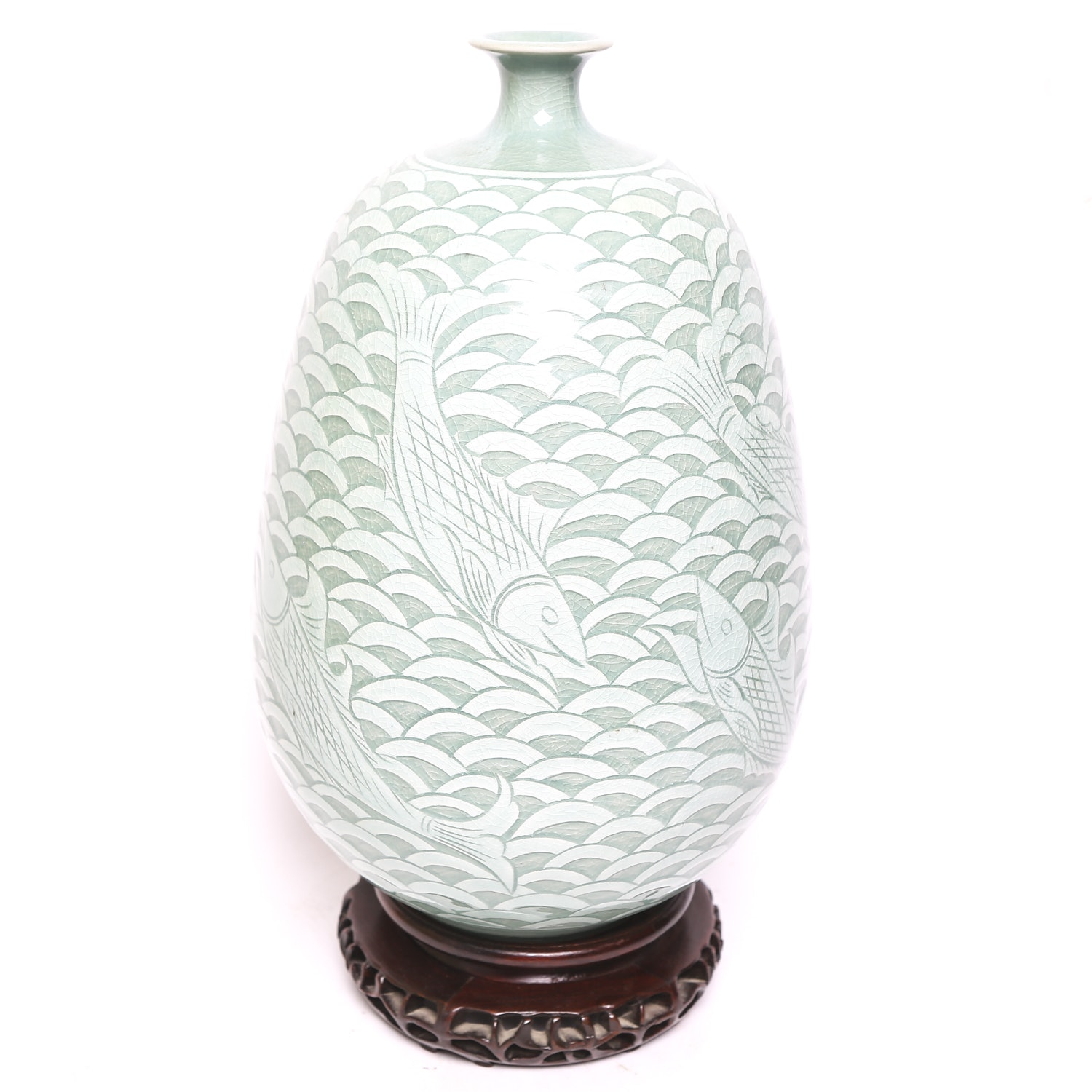 Large Celadon Fish Vase with Stand