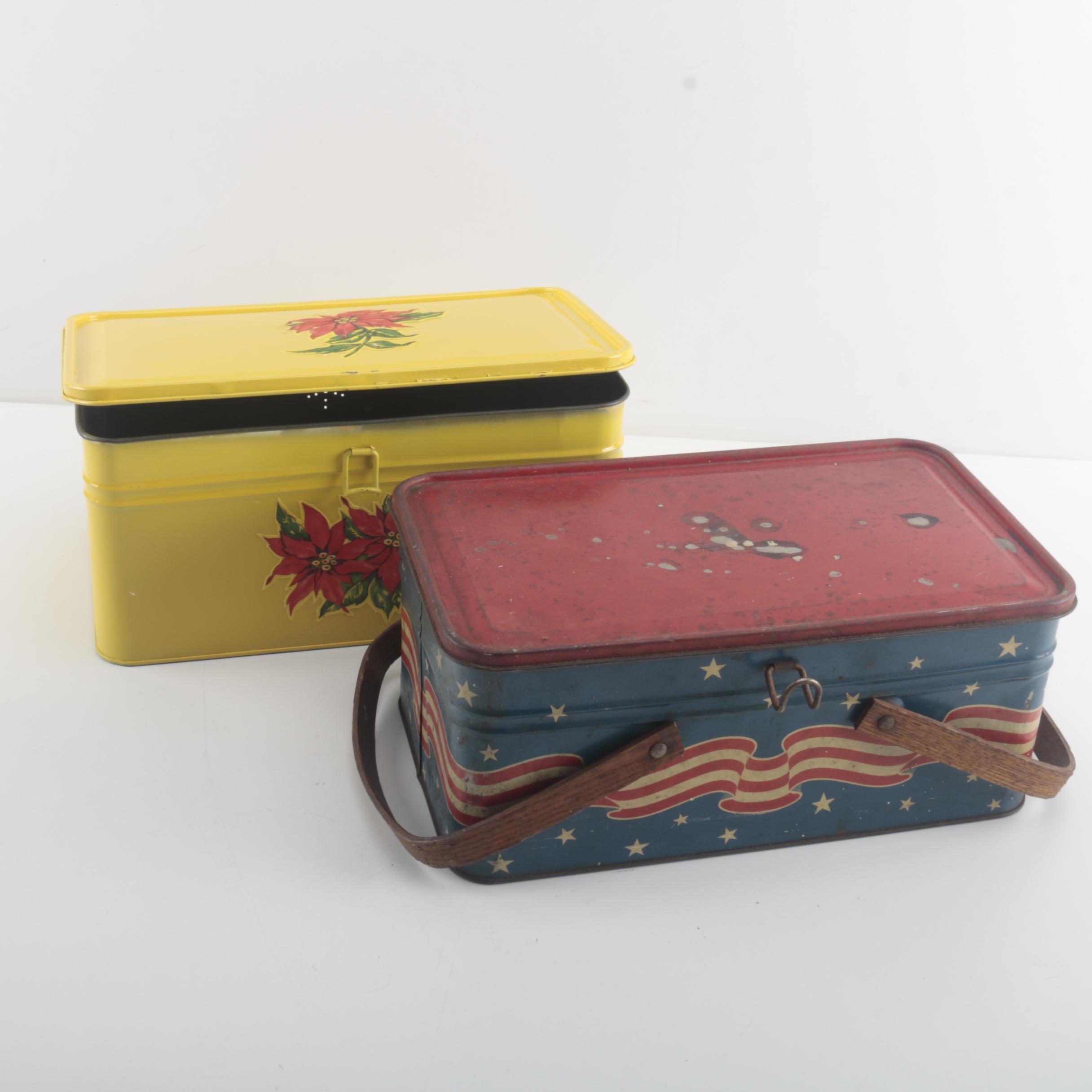 "Vintage Golden Cookies ""Bread"" Tin and ""Patriotic Picnic Basket"" Tin"