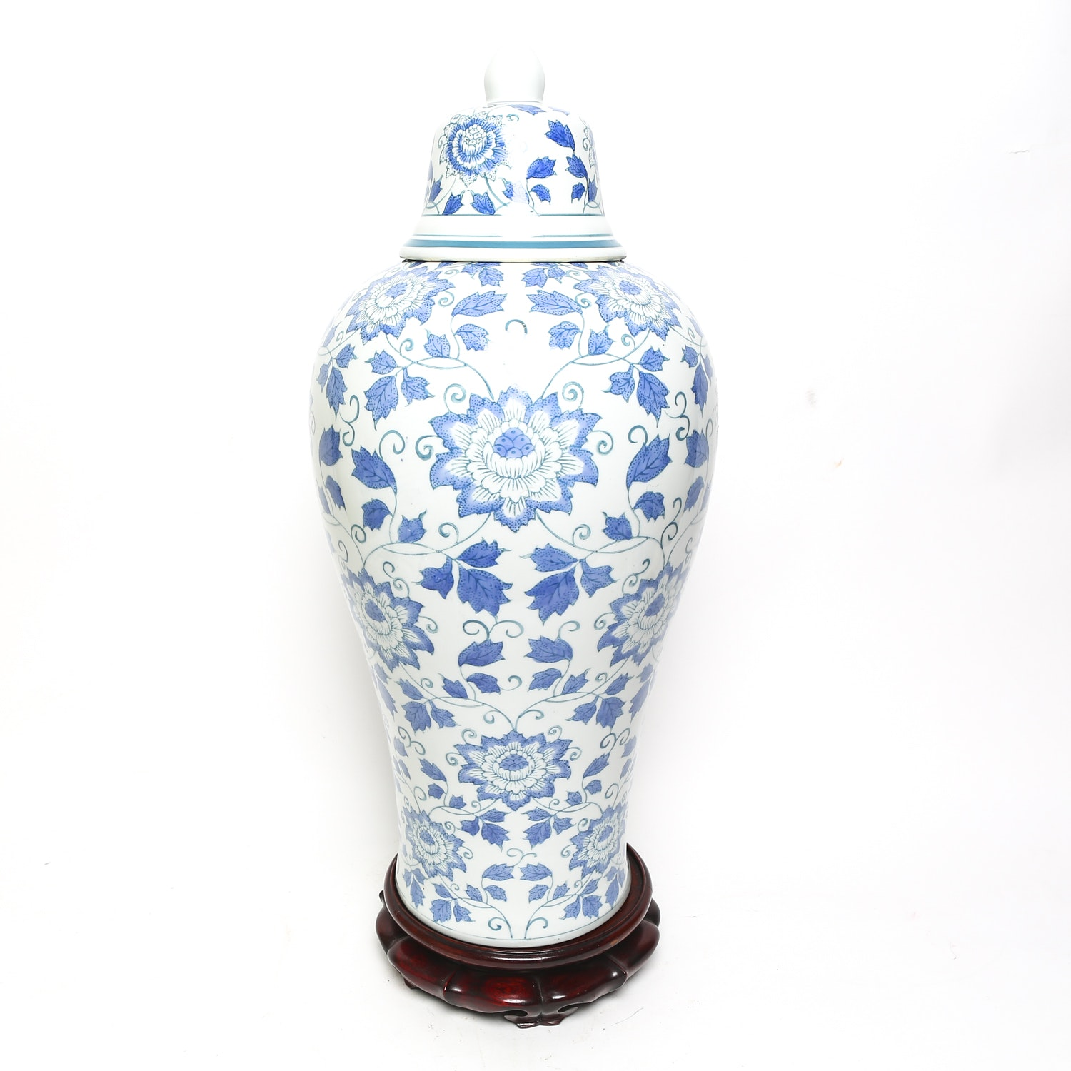 Large Blue and White Porcelain Lidded Vessel with Wooden Stand
