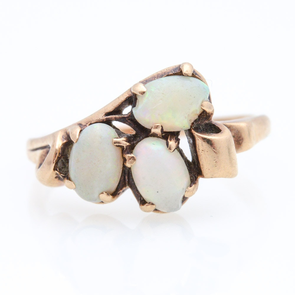 10K Yellow Gold Natural Opal Ring