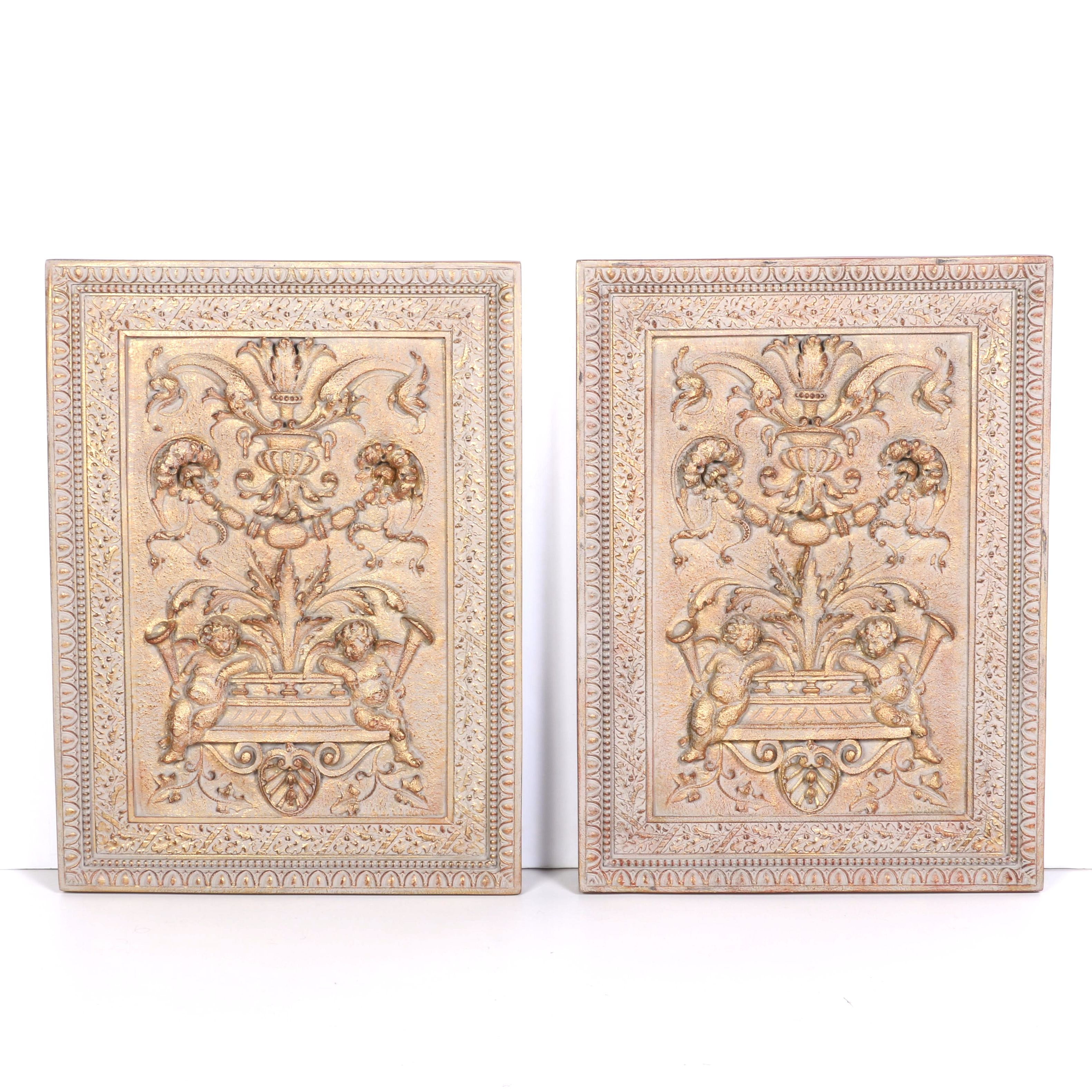 Resin Wall Hangings With Decorative Carvings in Low Relief