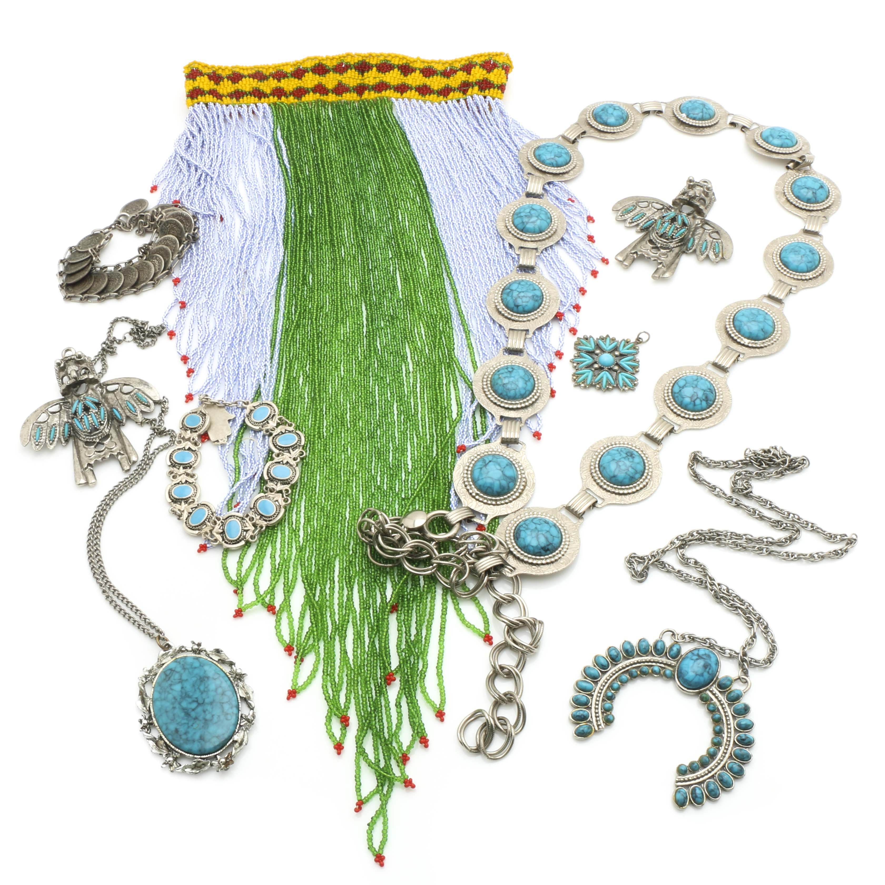 Assortment of Southwestern Style Jewelry and Accessories Featuring Imitation Turquoise