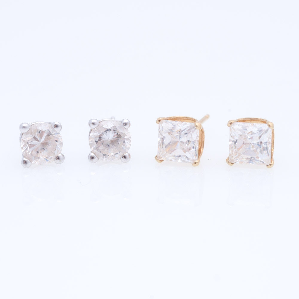 14K Yellow and White Gold Cubic Zirconia Stud Earrings