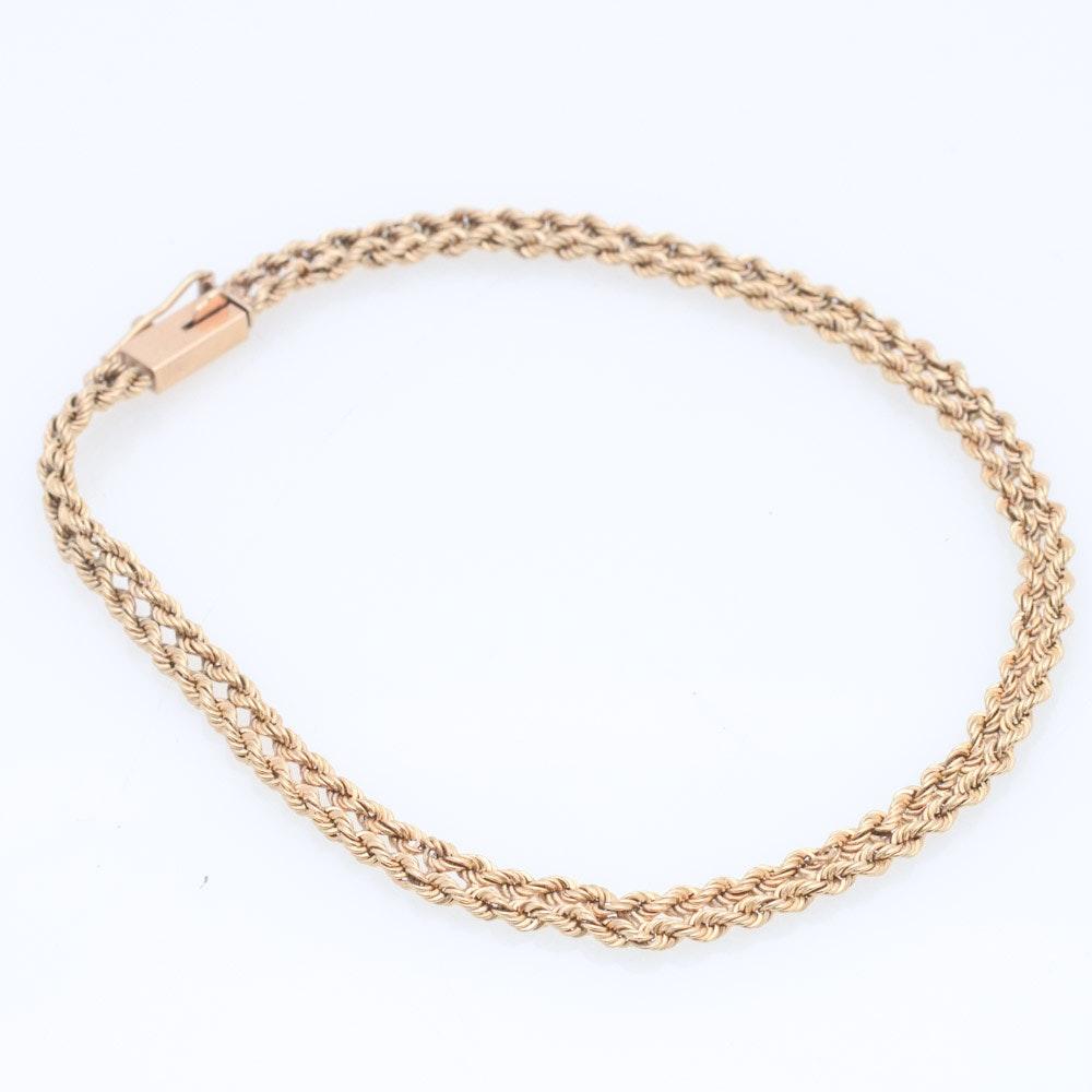 14K Yellow Gold Braided Chain Bracelet