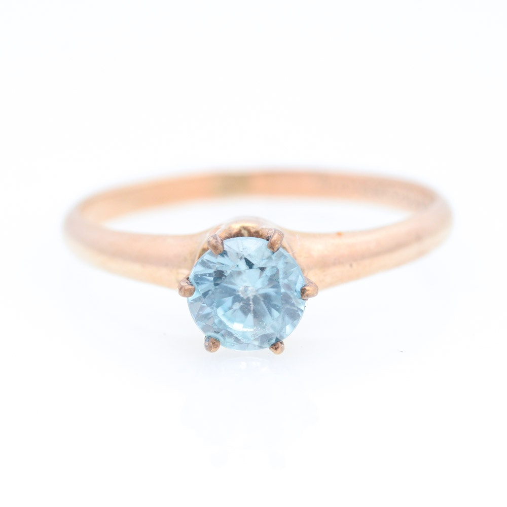 Gold Plated Natural Blue Zircon Ring