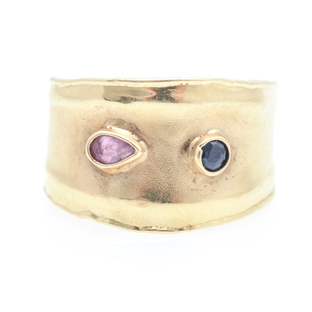 Contemporary 14K Yellow Gold Natural Ruby and Sapphire Ring