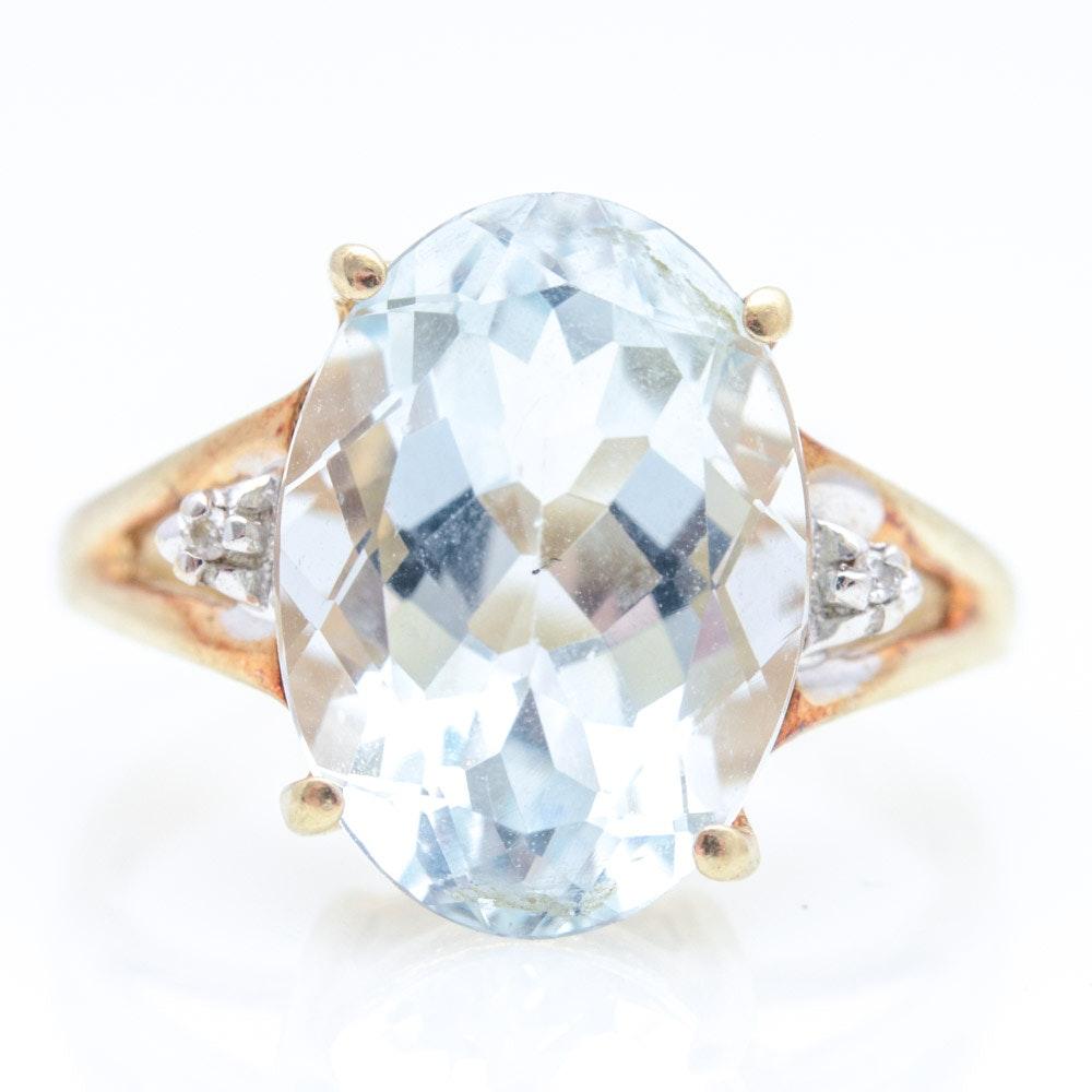 14K Yellow Gold Natural Aquamarine Ring