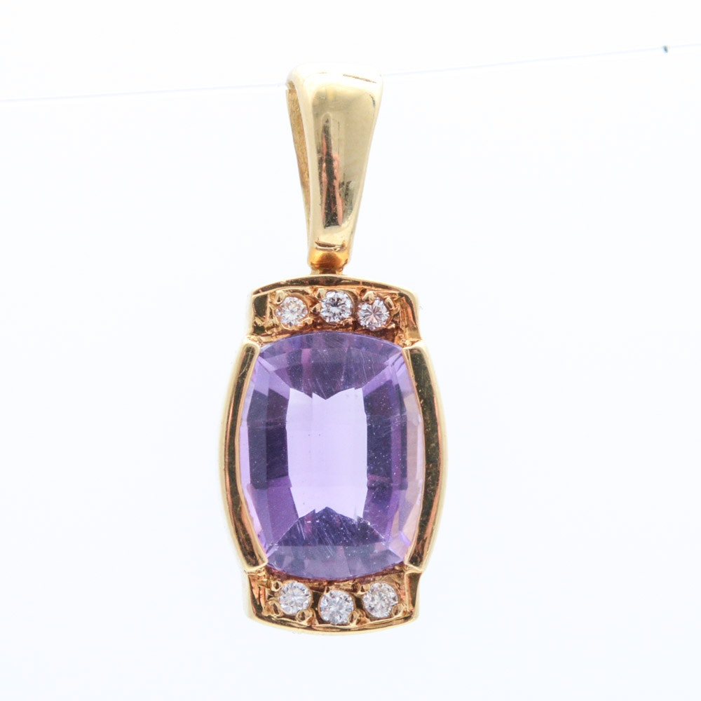 18K Yellow Gold Natural Amethyst and Diamond Pendant