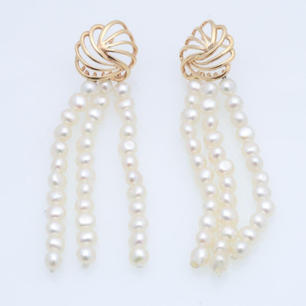 14K Yellow Gold Freshwater Pearl Dangle Earrings