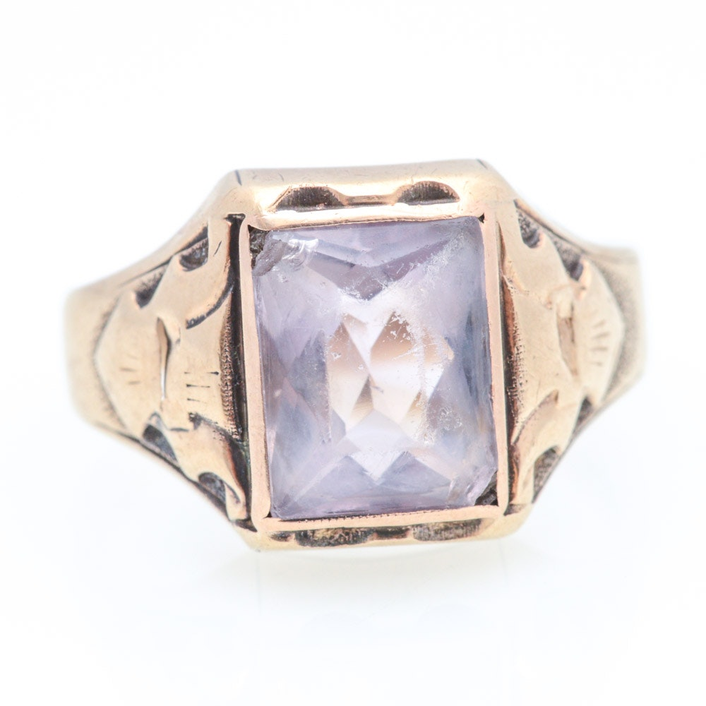 Vintage 10K Yellow Gold Natural Amethyst Ring