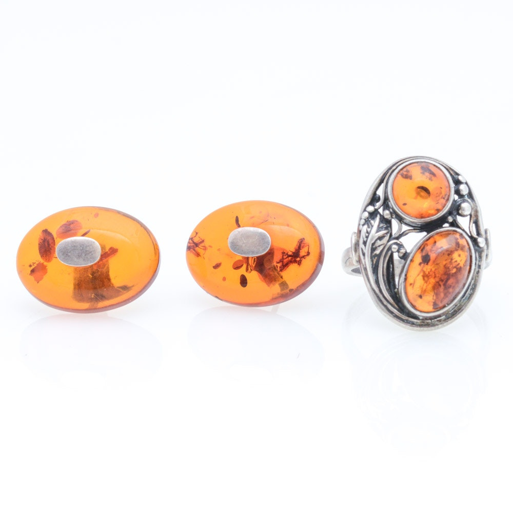 Sterling Silver Imitation Amber Ring and Earrings