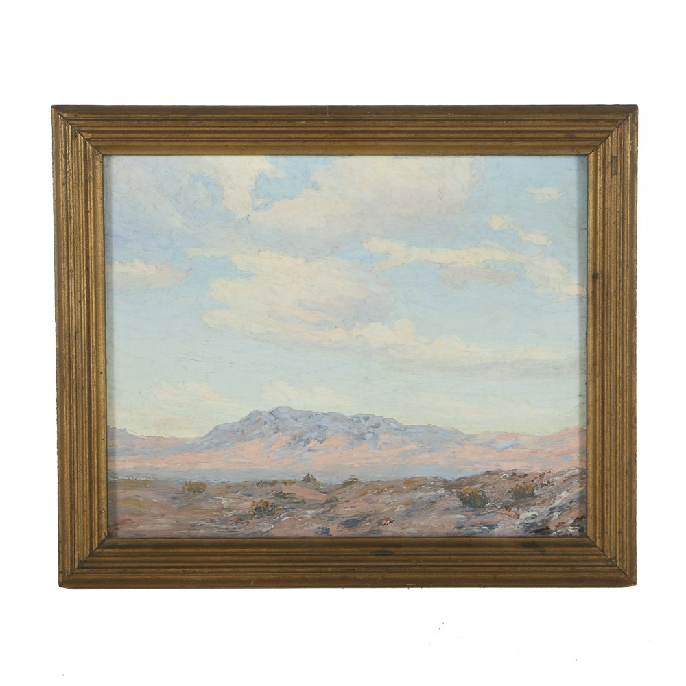 """Desert Cloud"" Oil Painting Attributed to Lucian C. Vannerson"