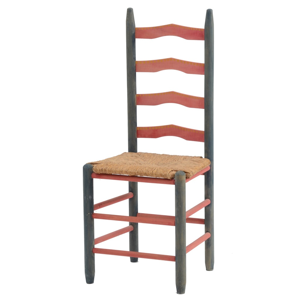 Vintage Hand-Painted Ladder Back Wicker Seat Chair