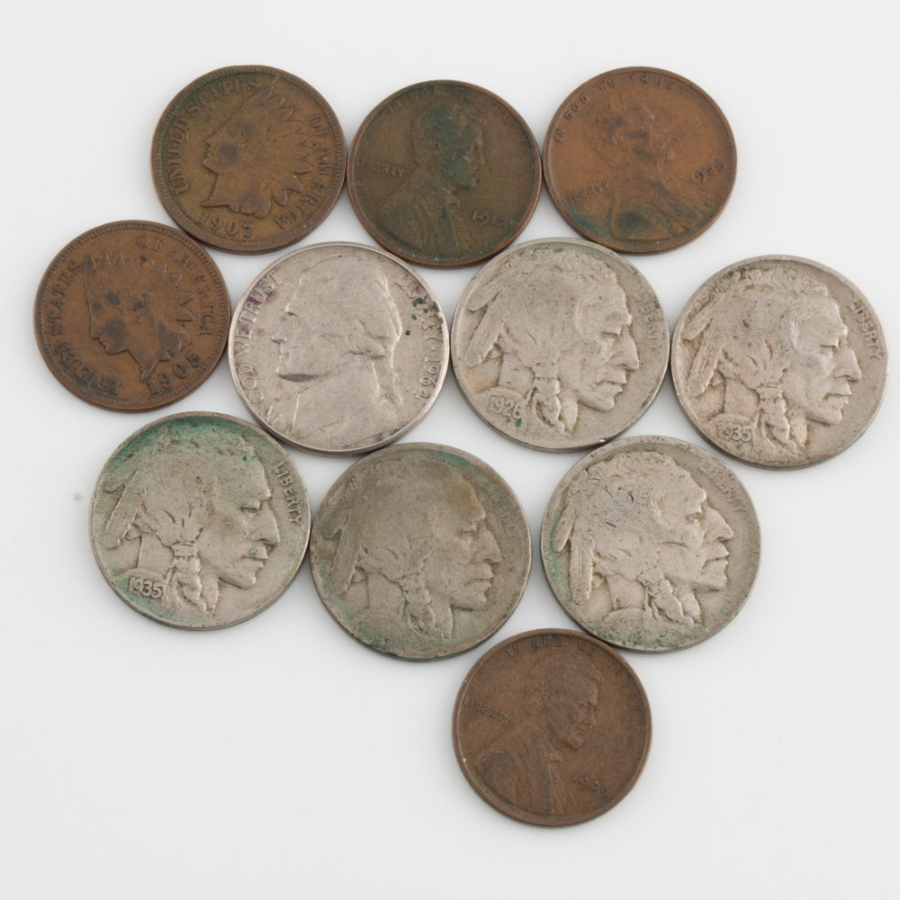 Group of Vintage and Antique U.S. Nickels and Pennies
