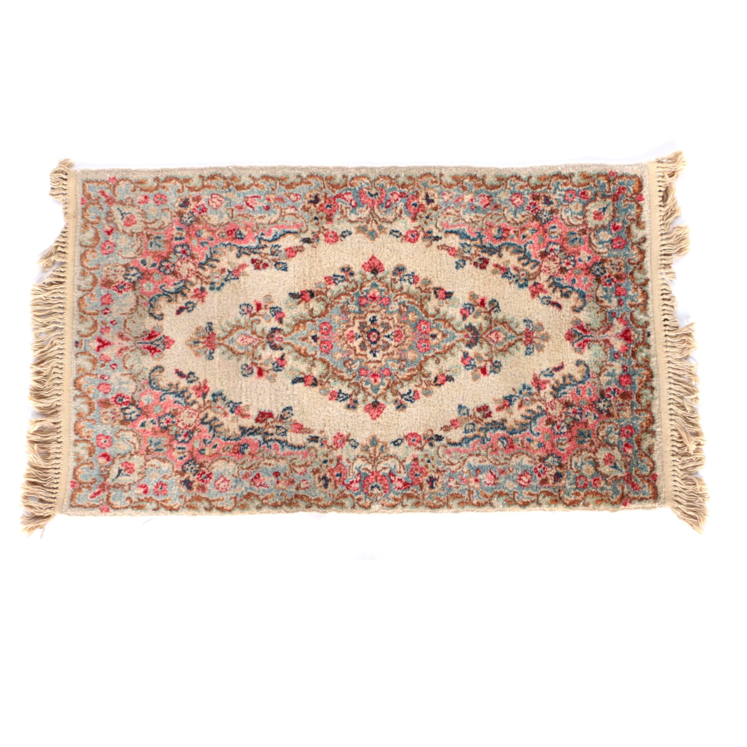 Hand-Knotted Iranian Kerman Accent Rug