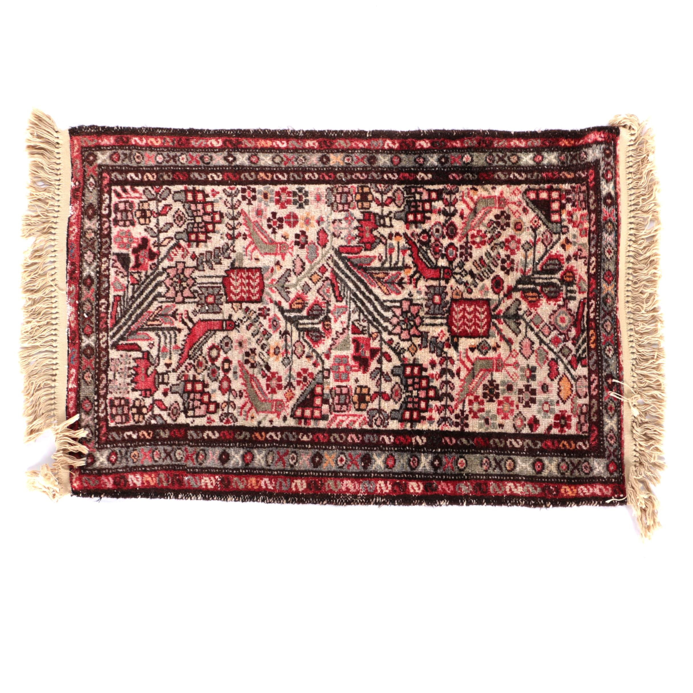 Hand-Knotted Iranian Hamadan Accent Rug