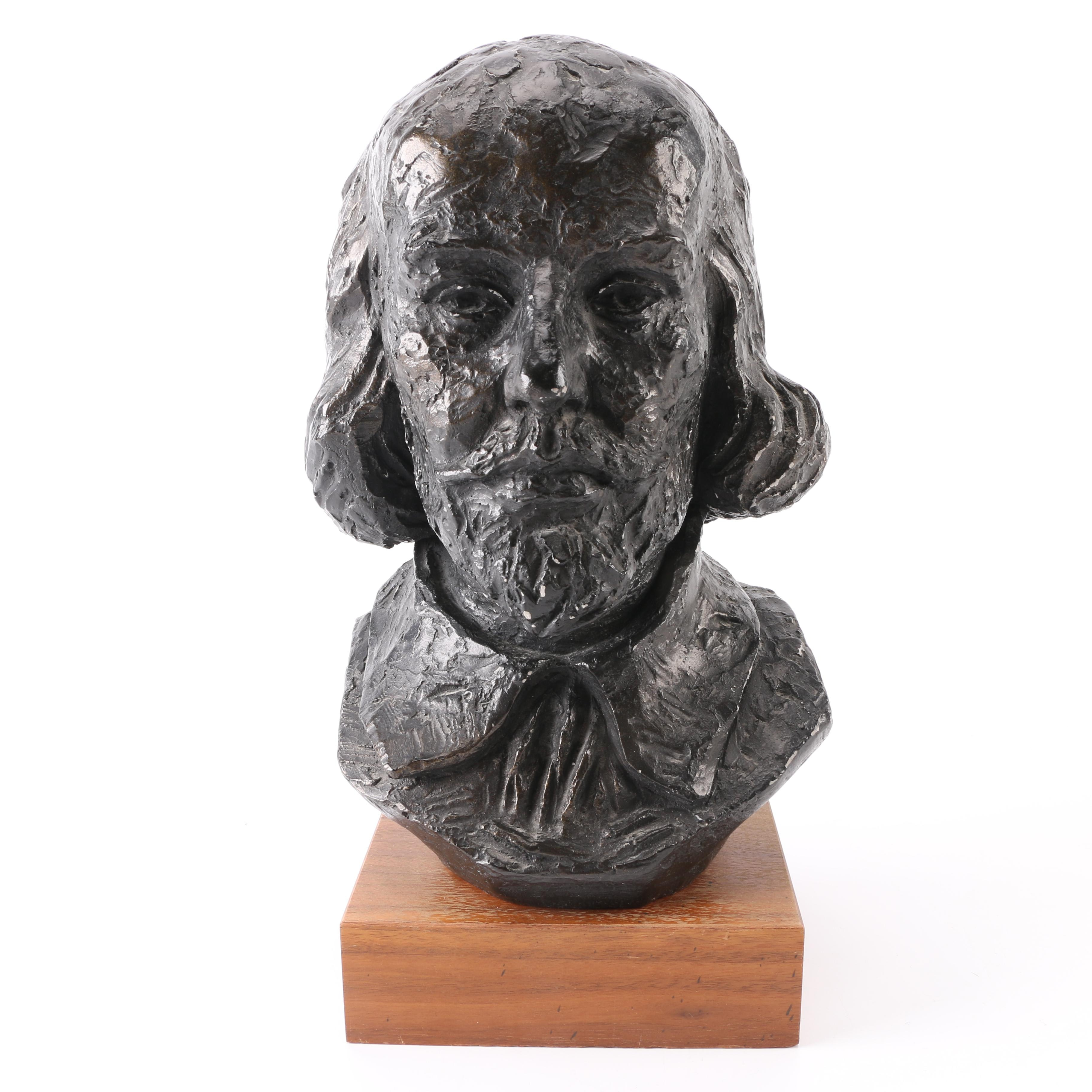 Austin Productions 1969 Chalkware Bust of Shakespeare on Wooden Base