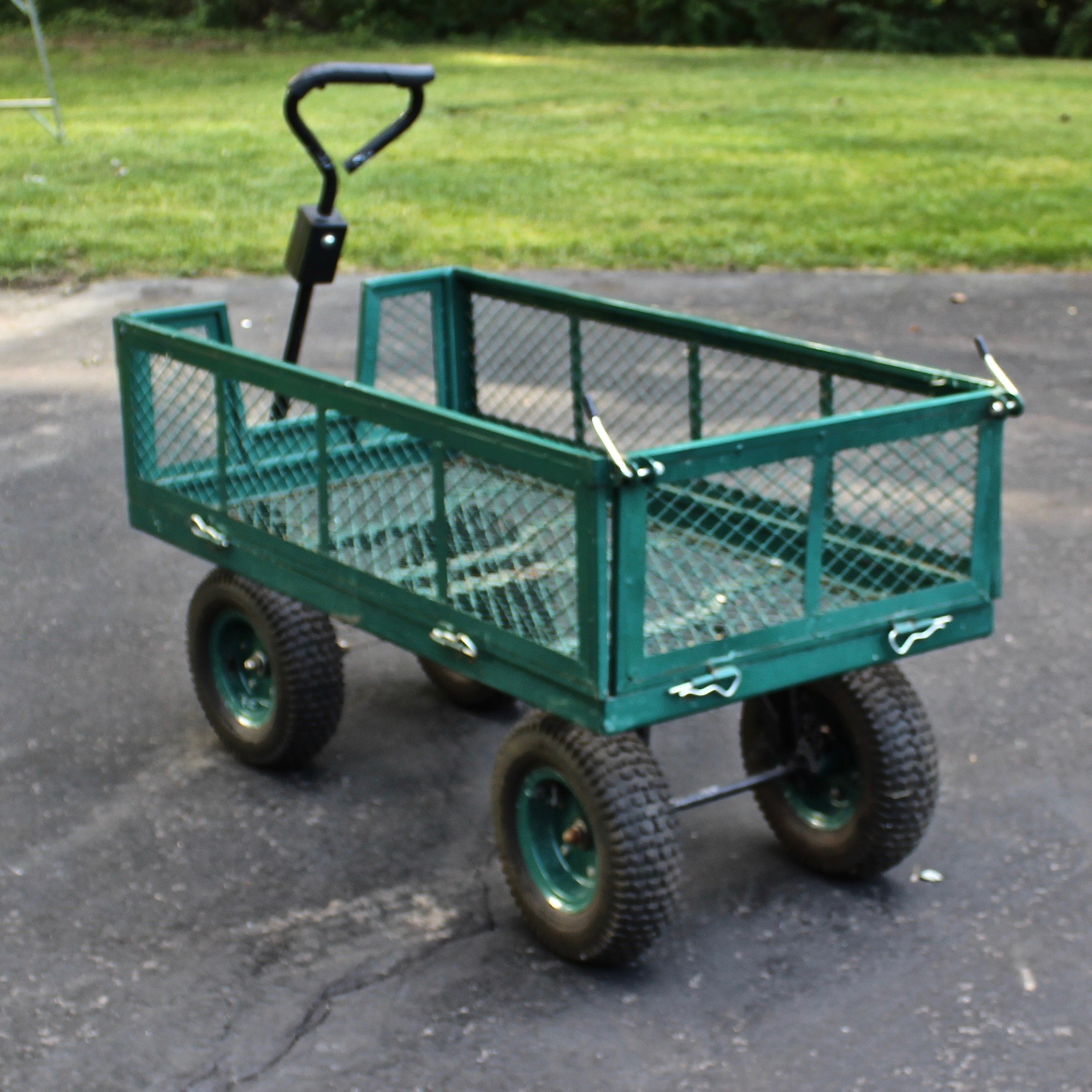 Metal Garden Cart with Drop Gate