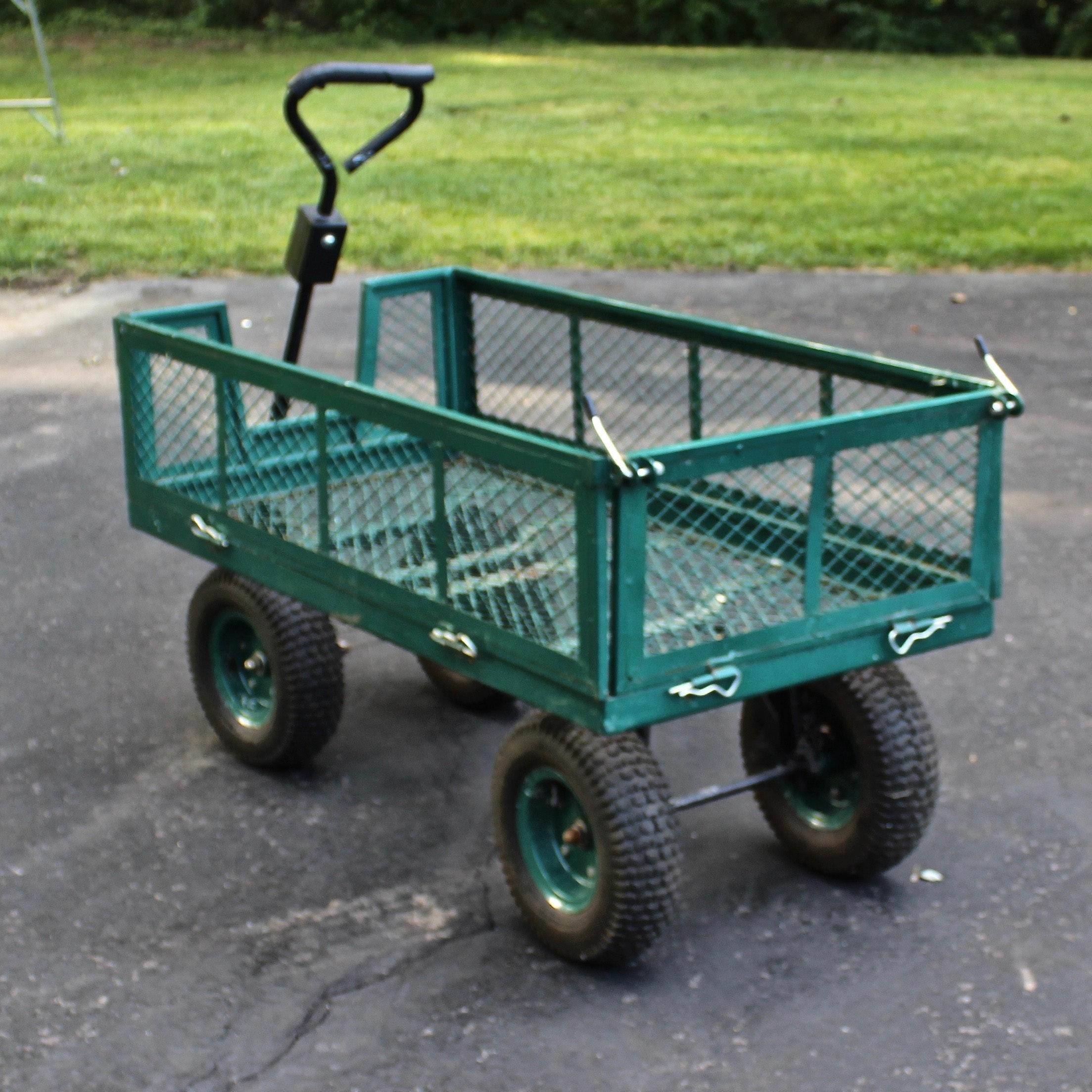 Metal Garden Cart With Drop Gate ...