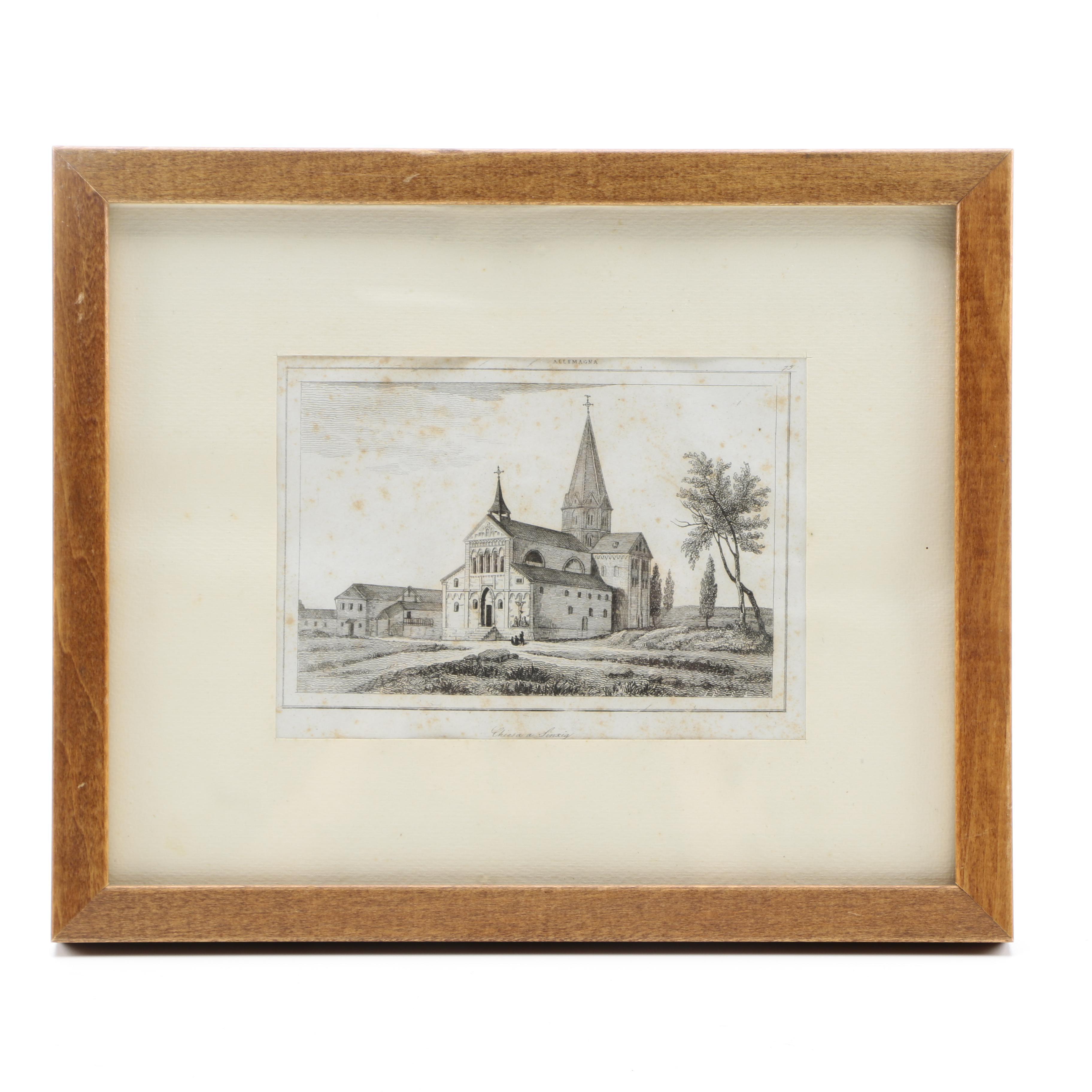 "Wood Engraving on Paper ""Chiesa a Sinxig"""
