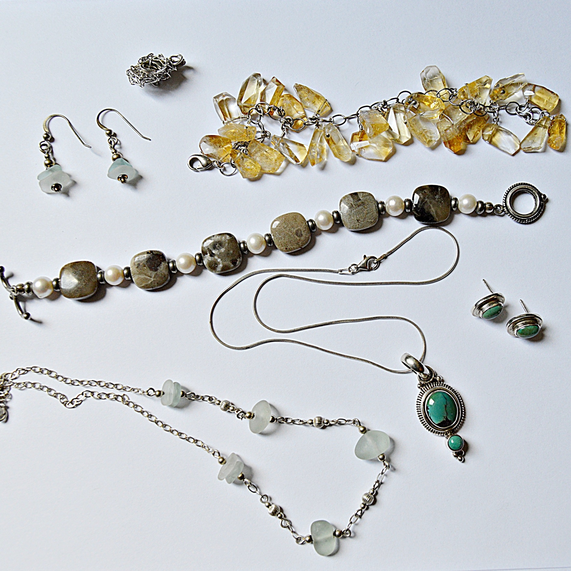 Sterling Silver, Petoskey Stone and Beach Glass Jewelry
