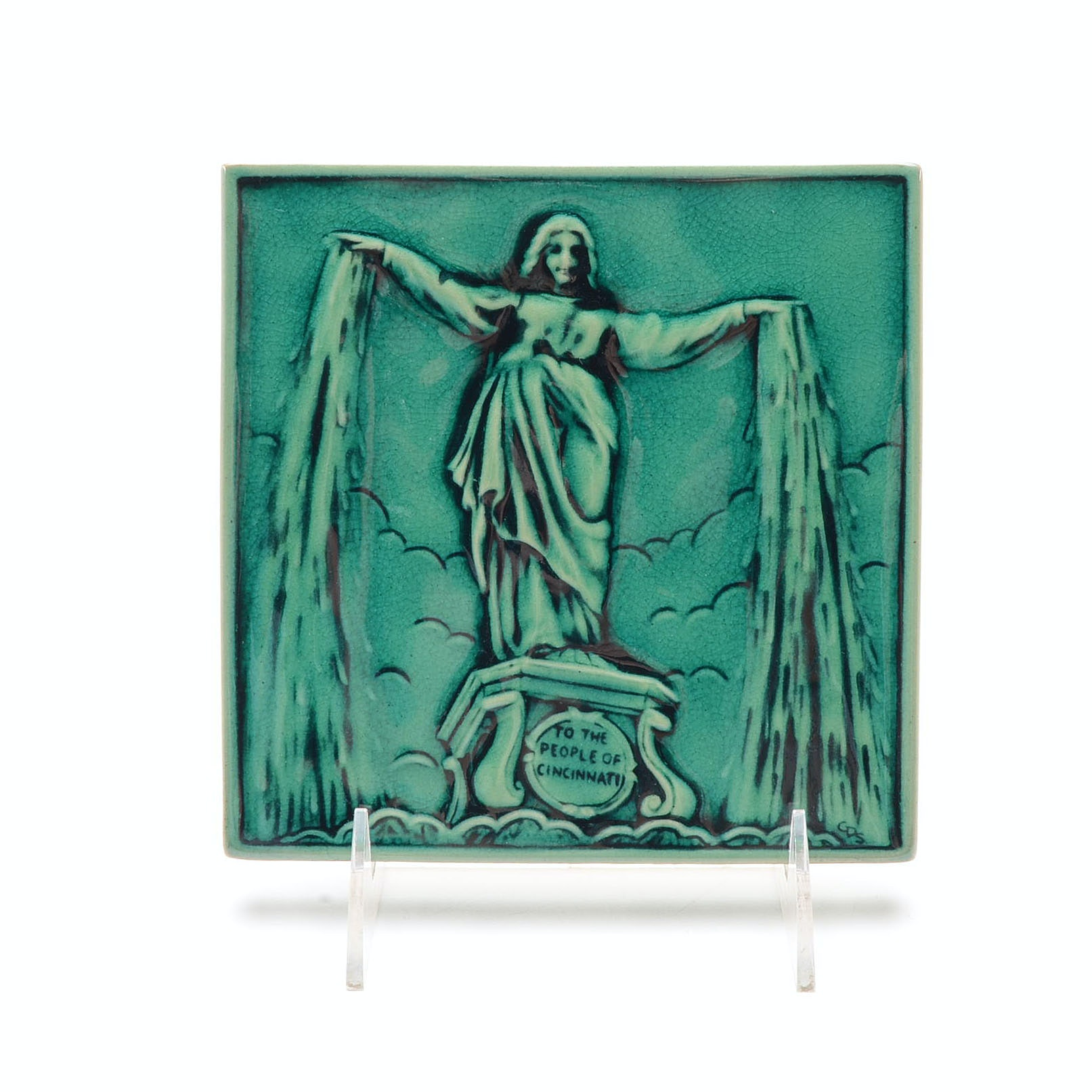 Rookwood Art Pottery Cincinnati Emerald Isle Fountain Square Tile