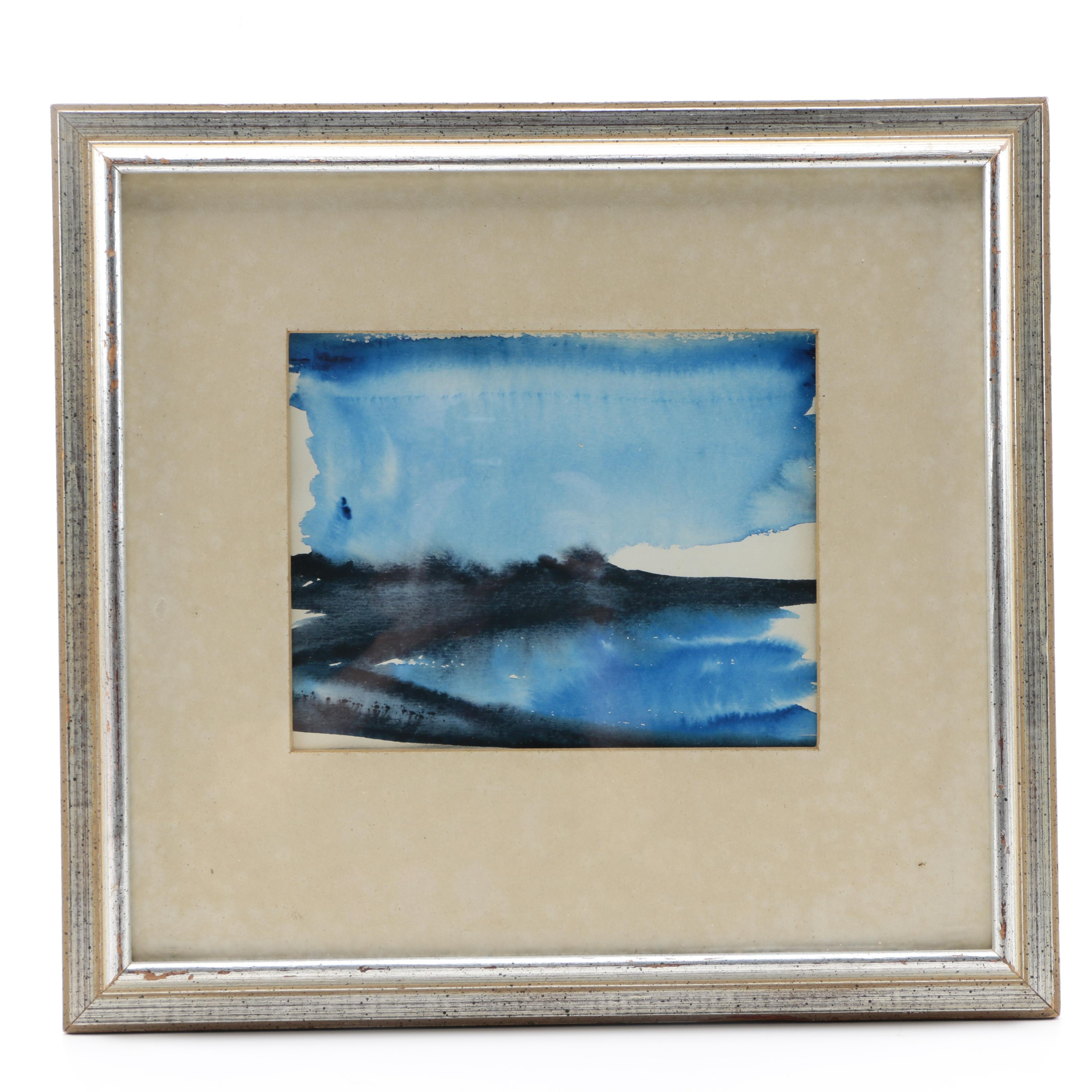 """Marge Courtney 1975 Abstract Watercolor Landscape on Paper """"Maine, 1975: #25"""""""