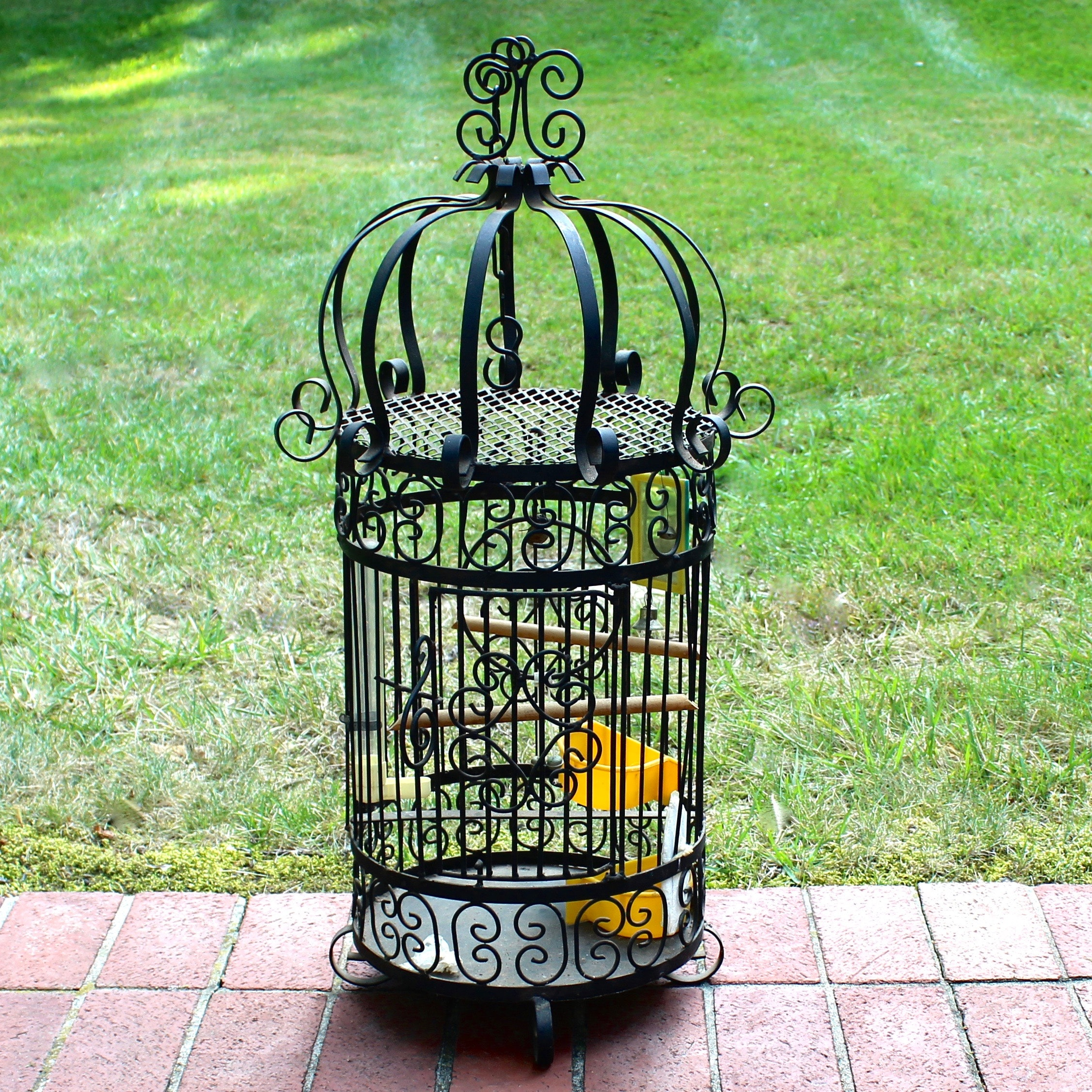 Black Wrought Iron Bird Cage with Accessories