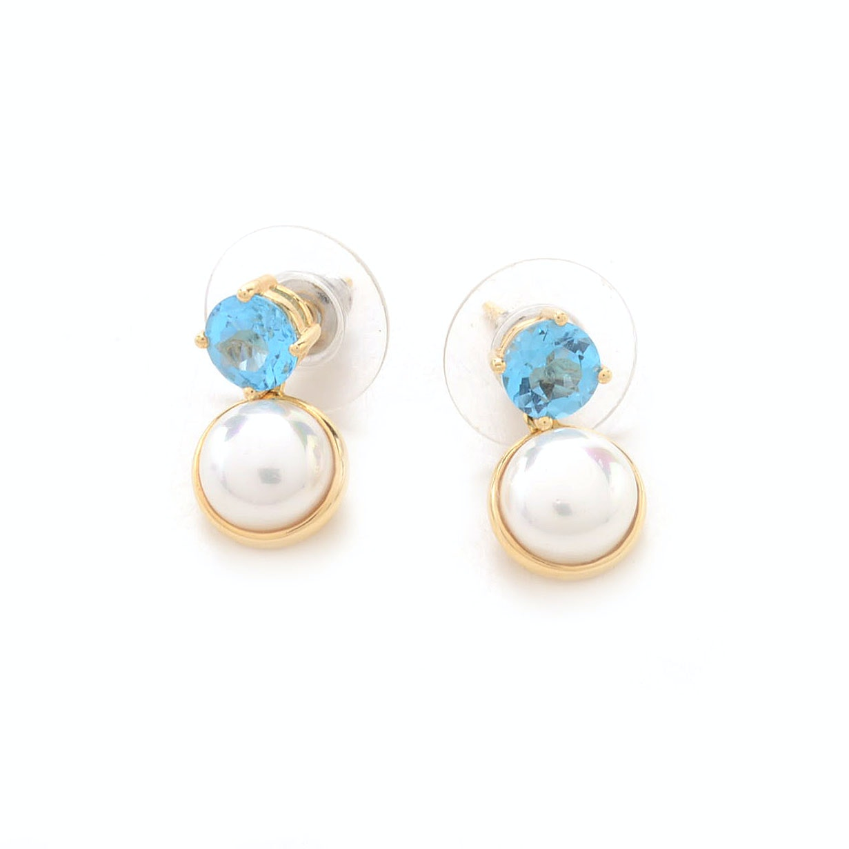 Pair of 14K Yellow Gold Blue Topaz Faux Pearl Earrings