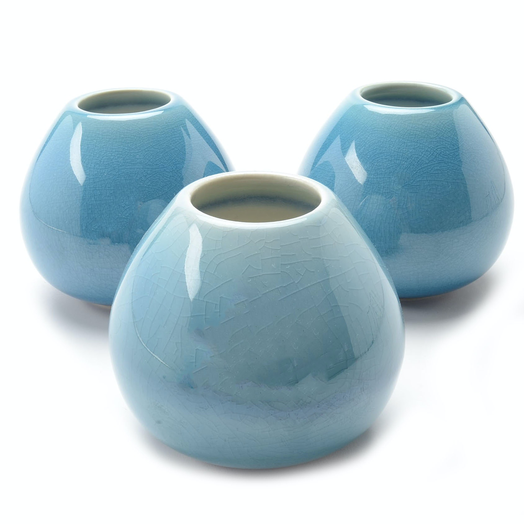"""Set of Contemporary Rookwood Art Pottery Blue """"Sophie"""" Vases"""