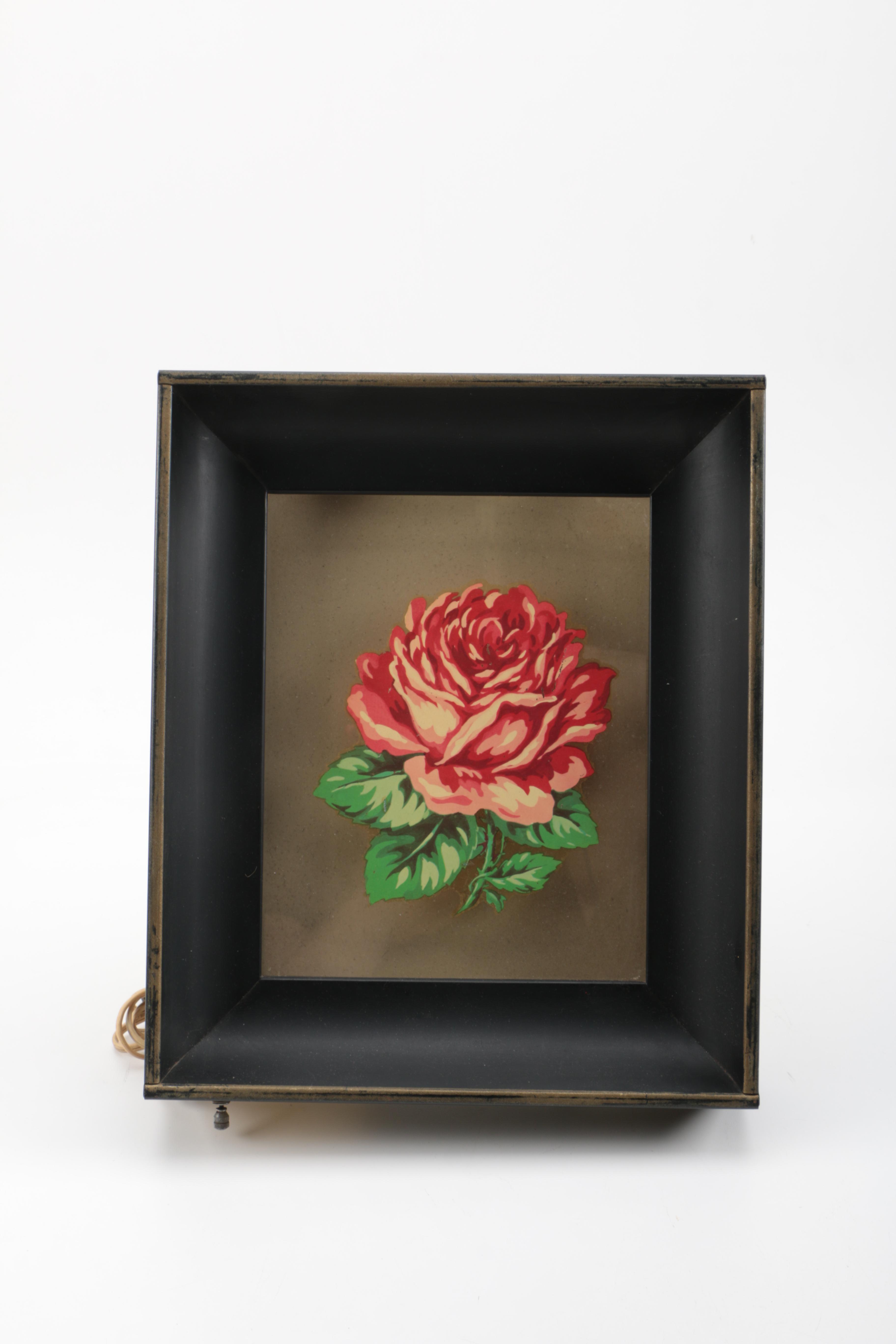Shadow Box Style Rose Motif Wall Light