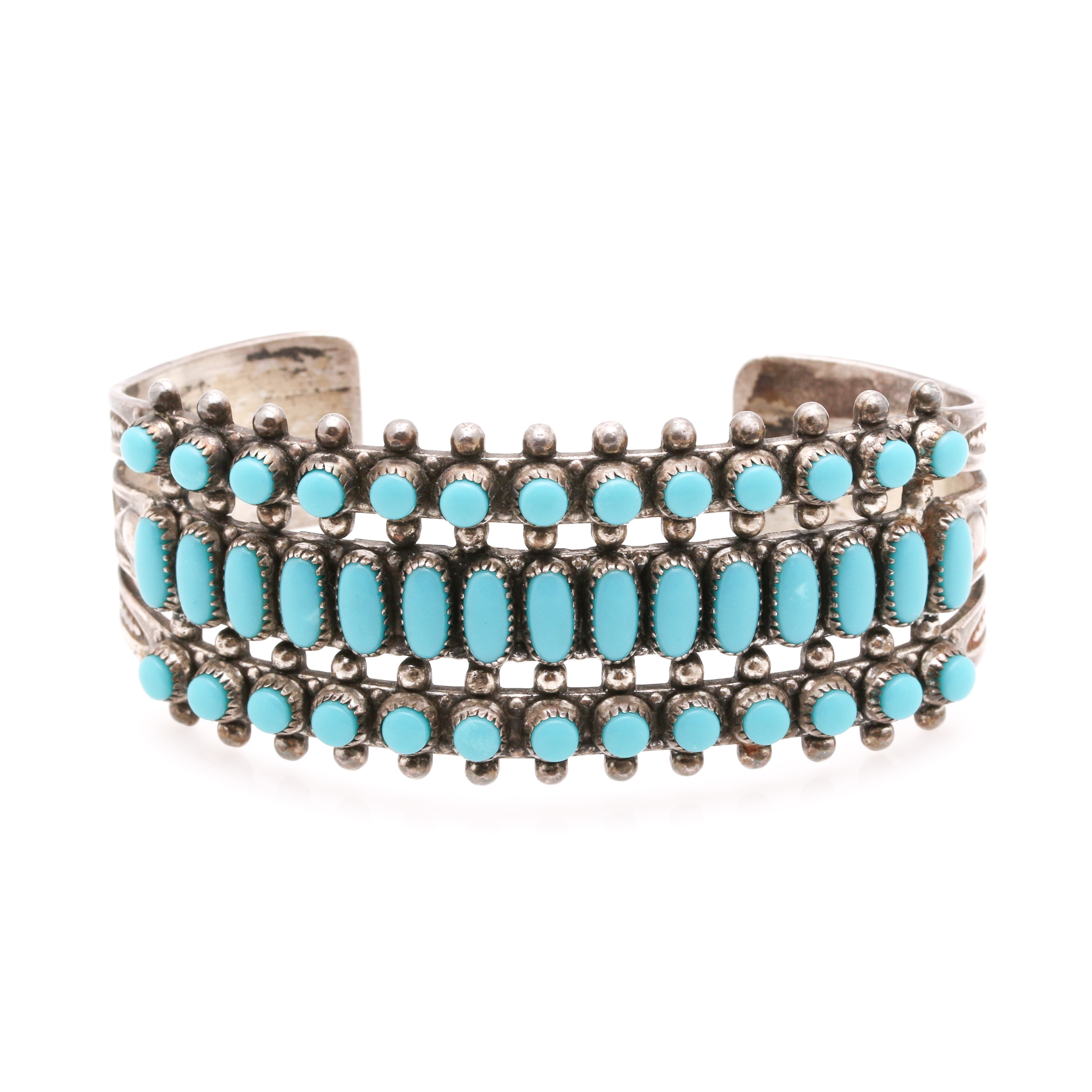 Jane Popovitch Navajo Sterling Silver and Reconstituted Turquoise Cuff Bracelet
