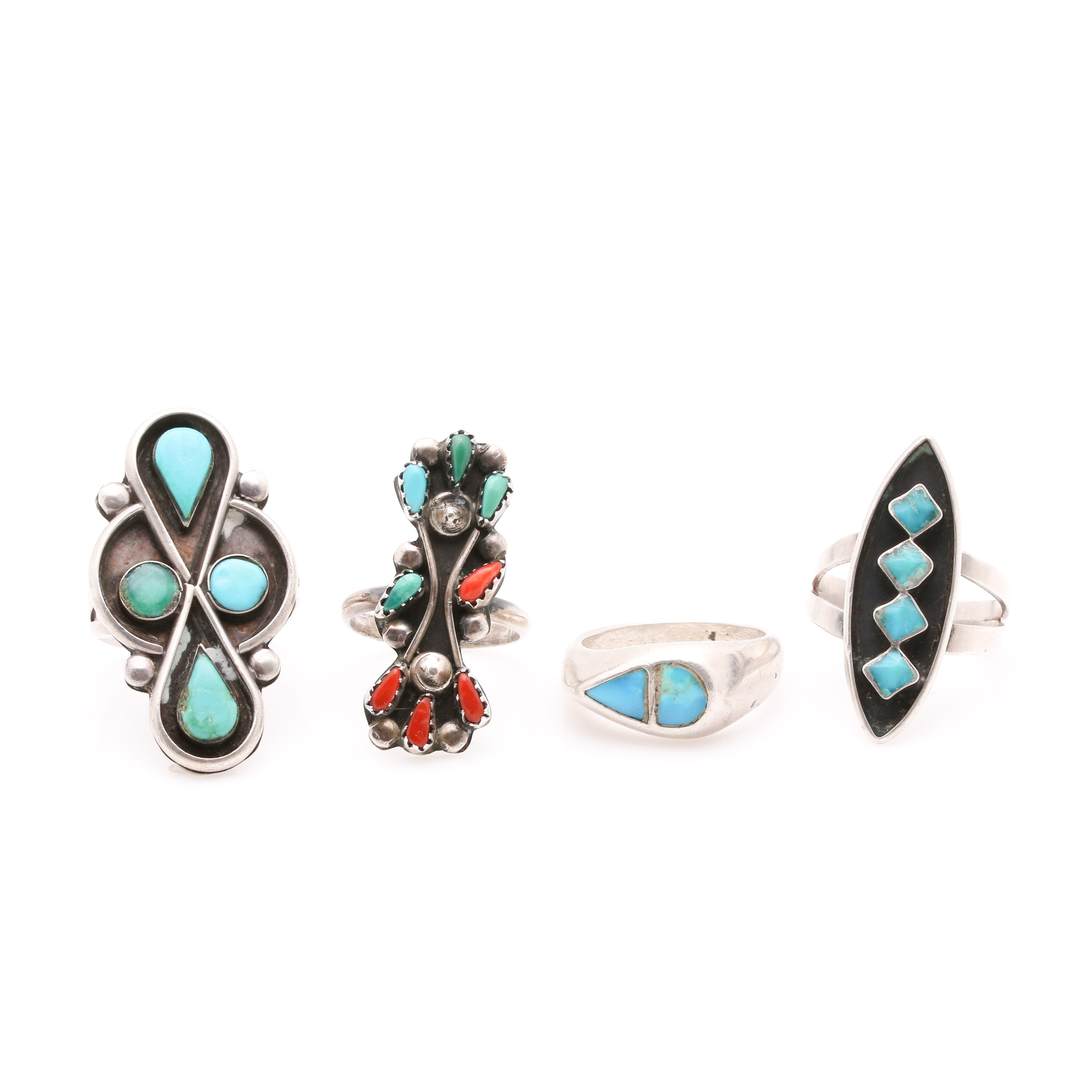 Assortment of Sterling Silver, Turquoise and Coral Rings