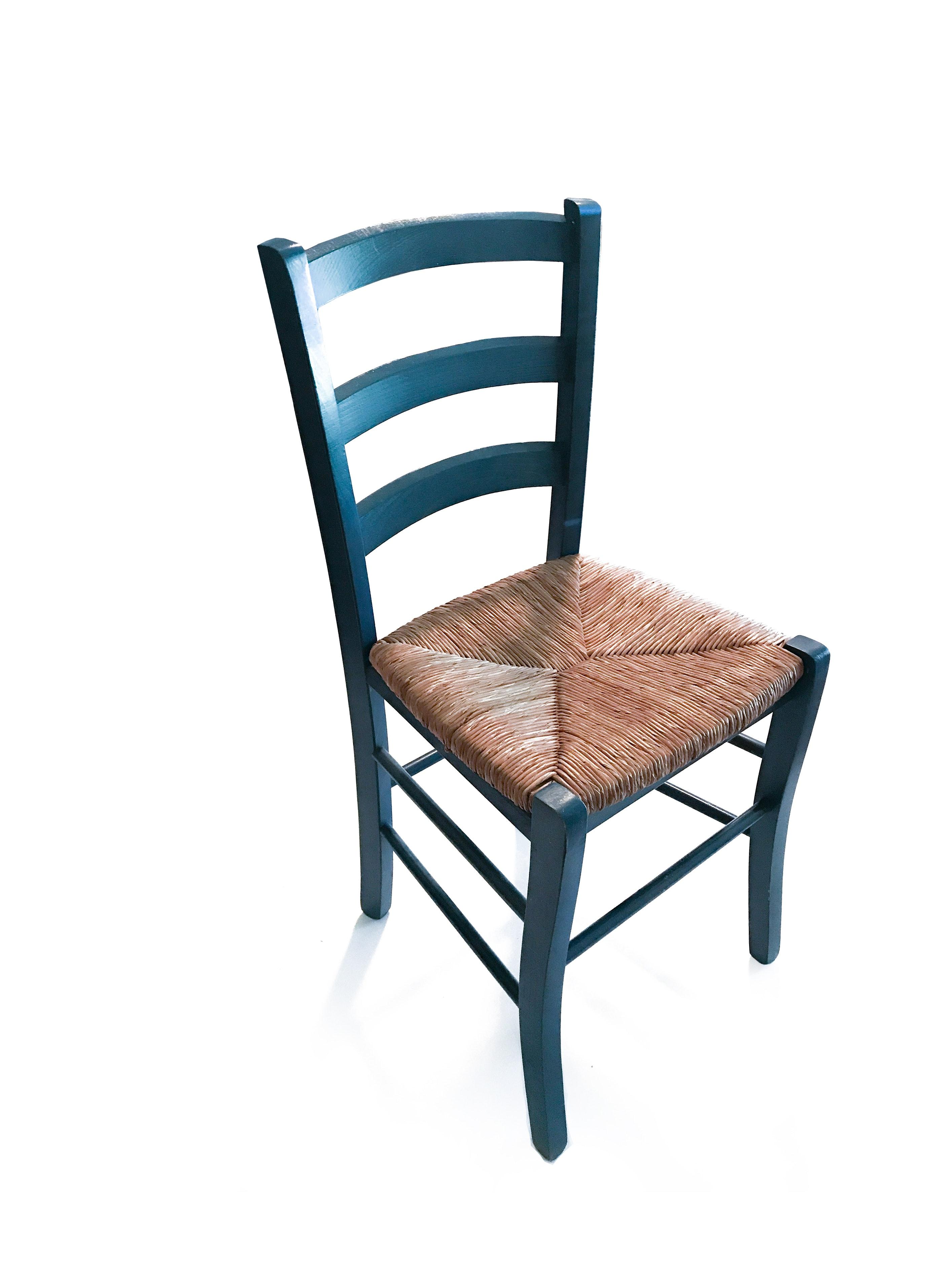 Blue Ladderback Side Chair