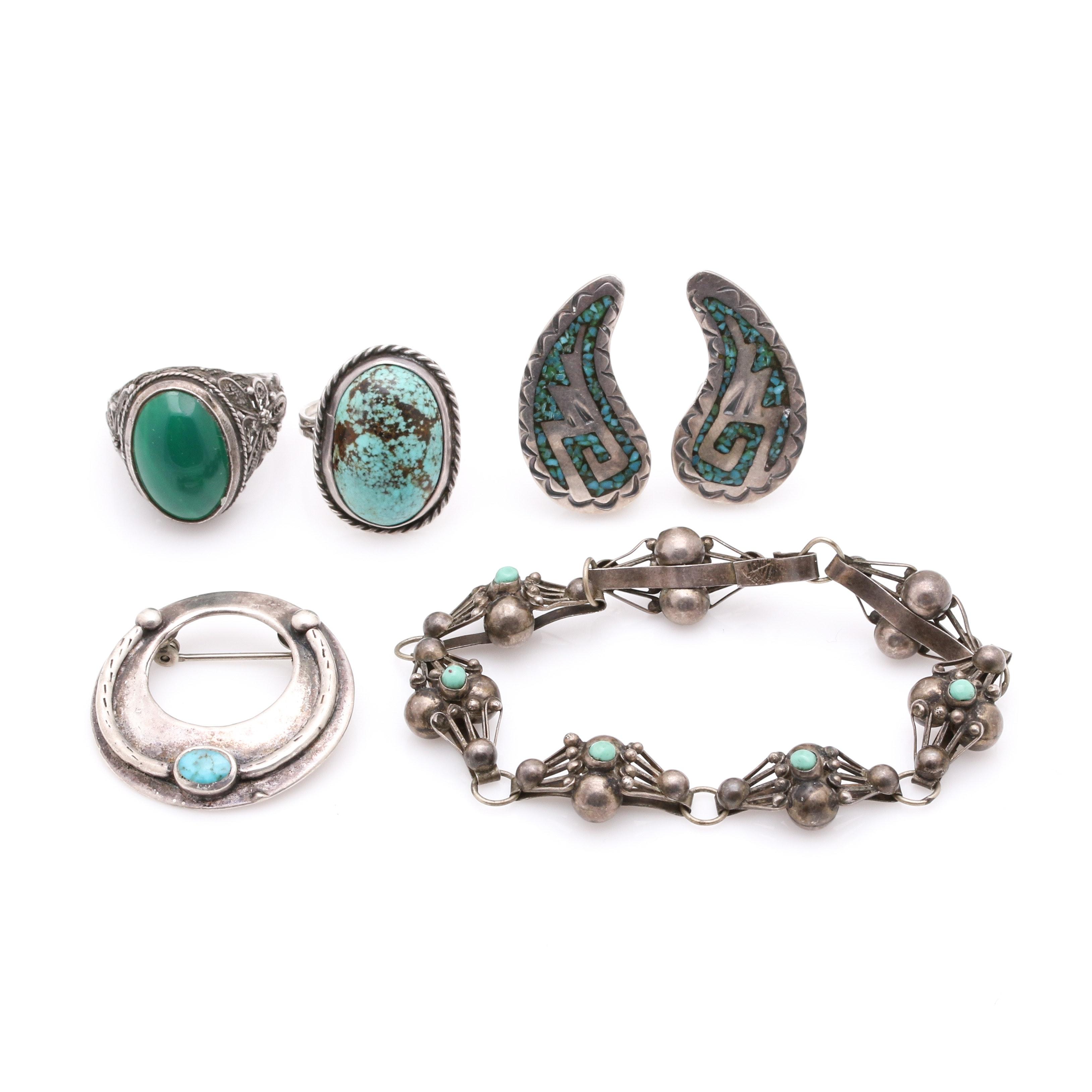 Southwestern Style Sterling Silver Gemstone Jewelry