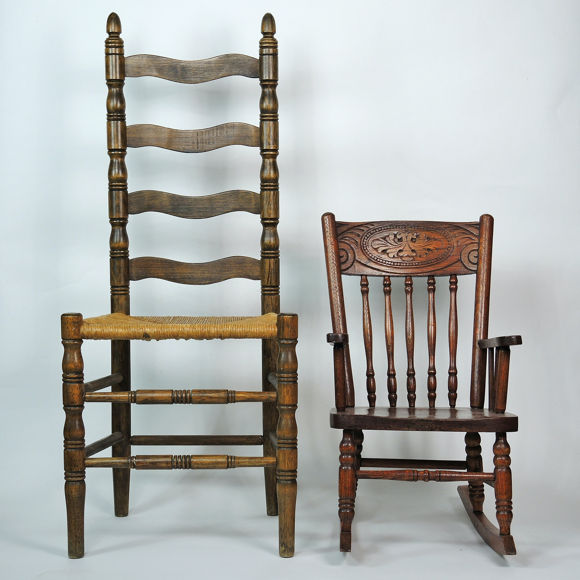 Vintage Ladder Back Chair and Child's Rocker