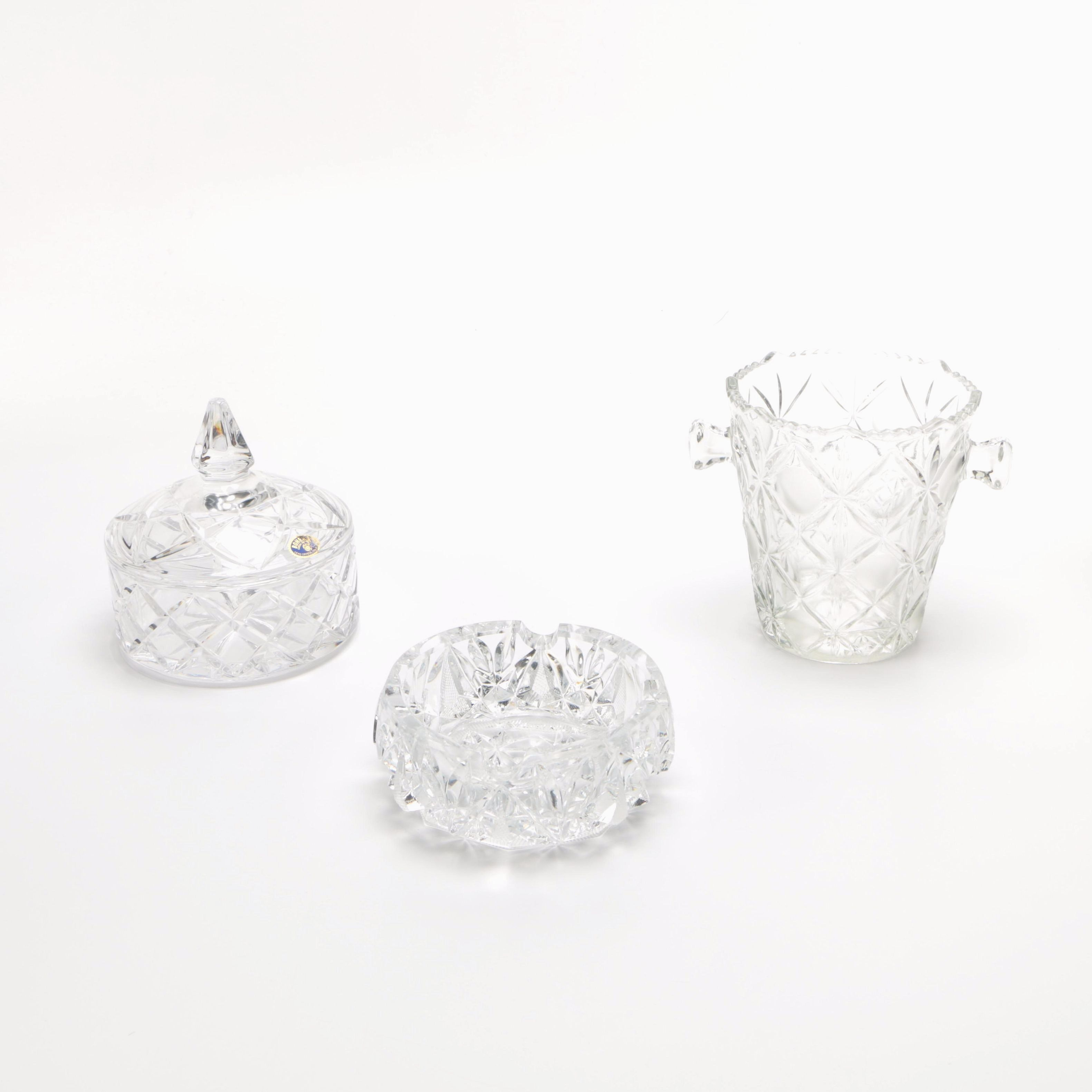 Crystal Glass Lidded Dish, Ashtray and Vase