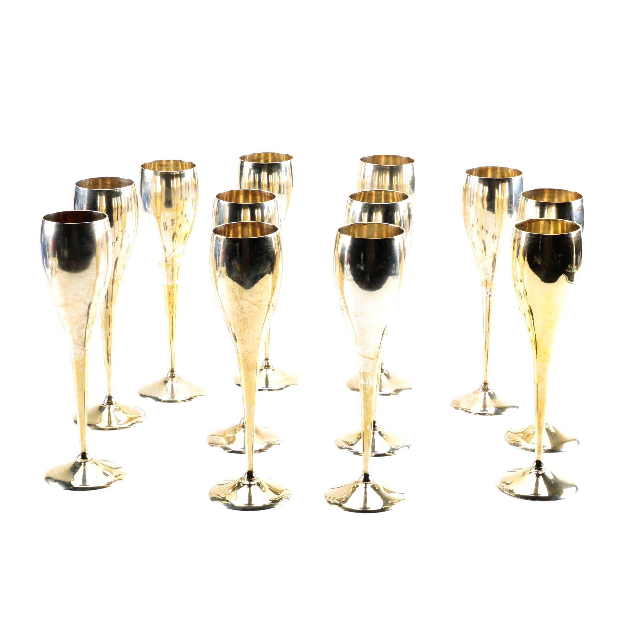 Metal Champagne Flutes