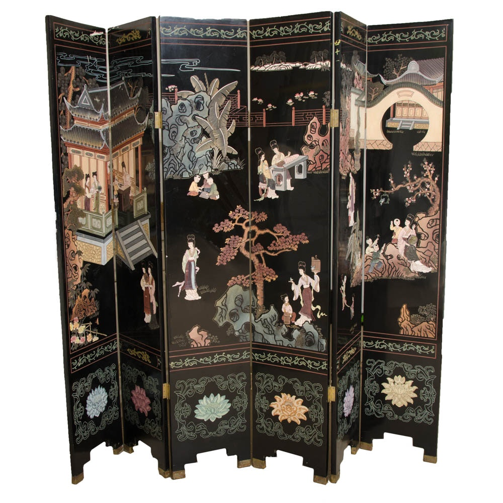 Chinese Six Panel Folding Screen