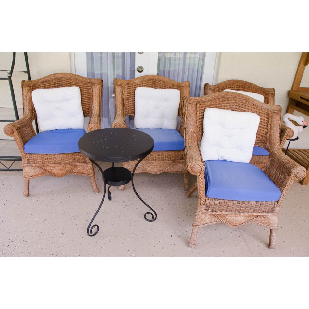 Wicker Chairs With Cushions and Side Table