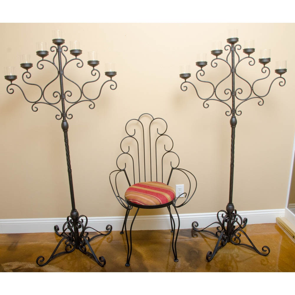 Pair of Floor Candelabras and Peacock Style Metal Chair