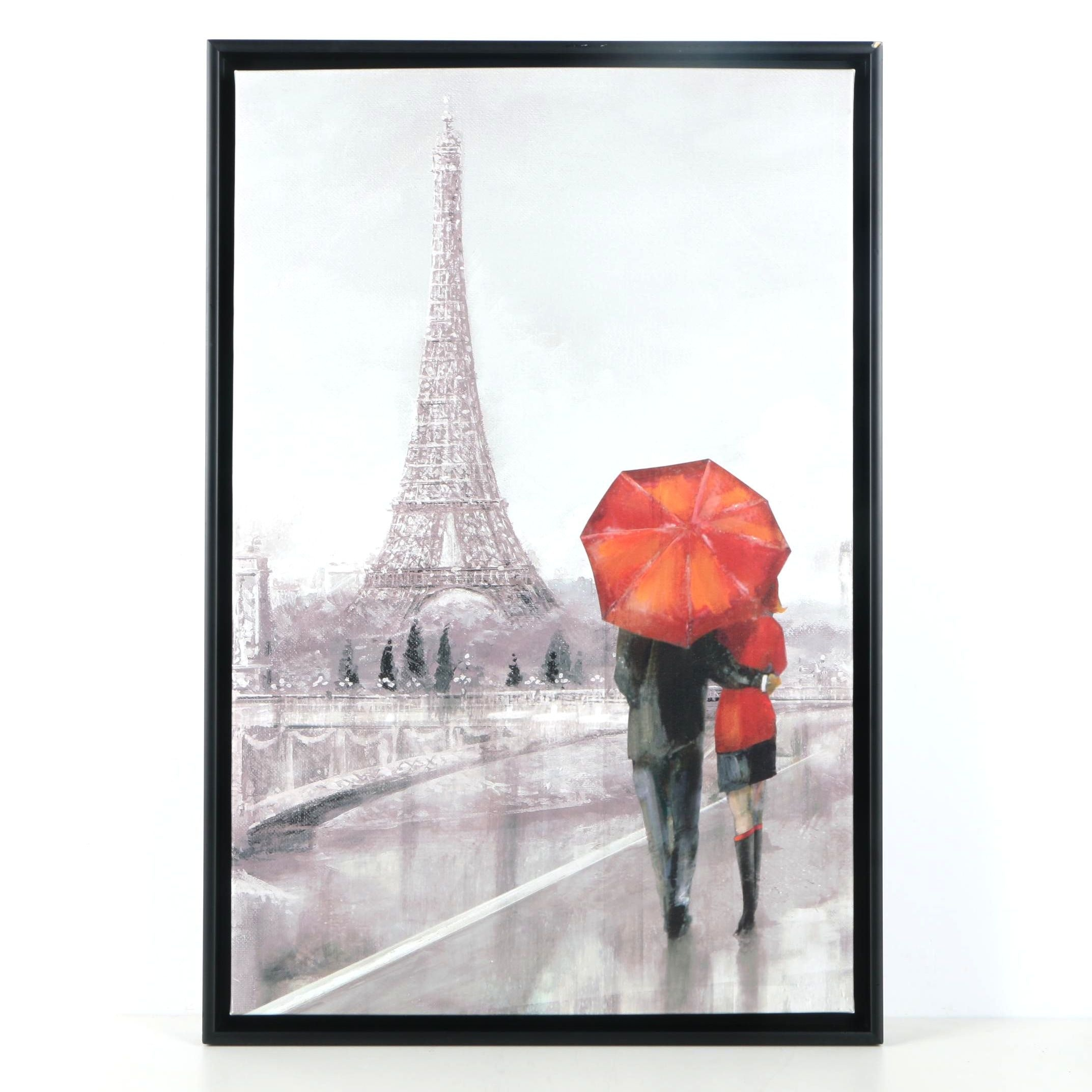 """Giclee on Canvas After Ruane Manning's Painting """"Couple in Paris"""""""