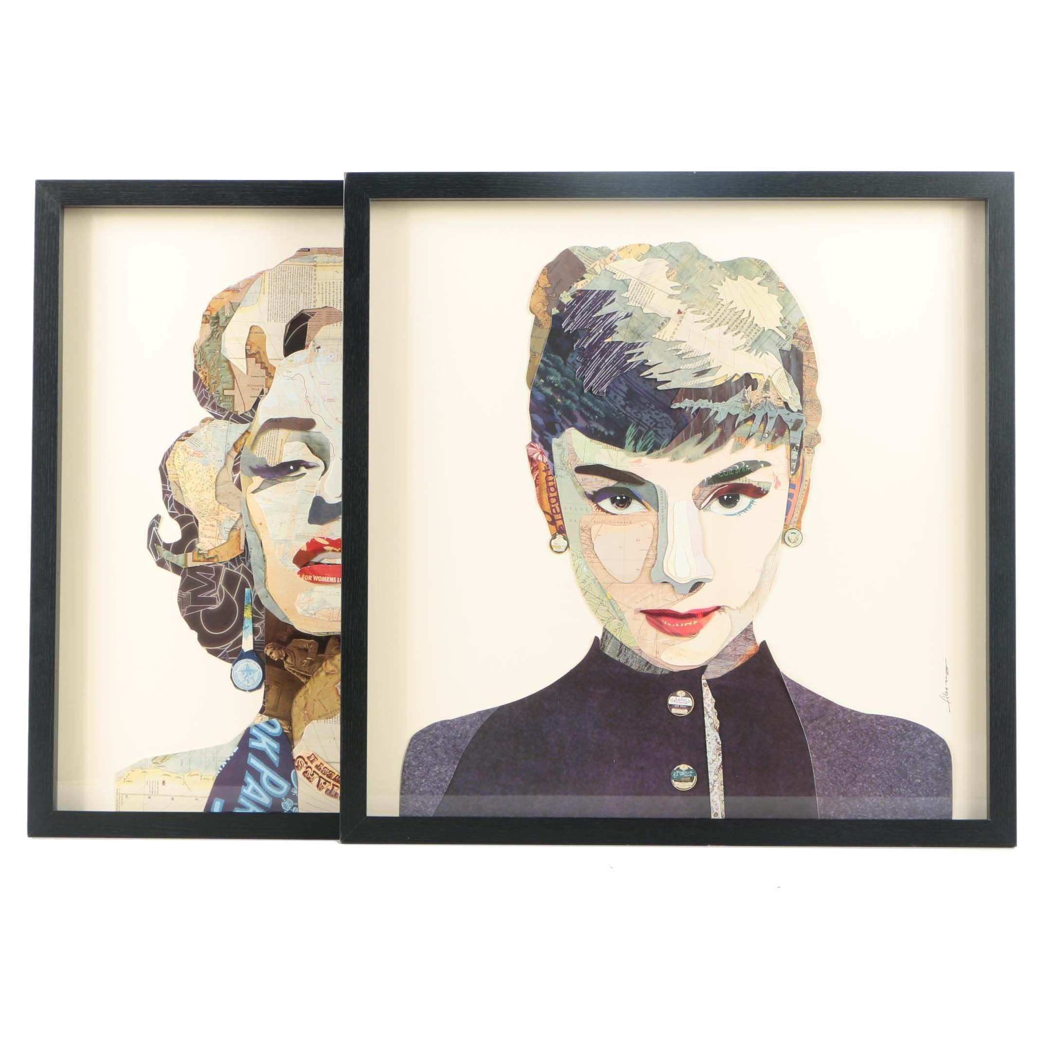 "Alex Zeng Collages of ""Audrey Hepburn"" and ""Marilyn Monroe"""