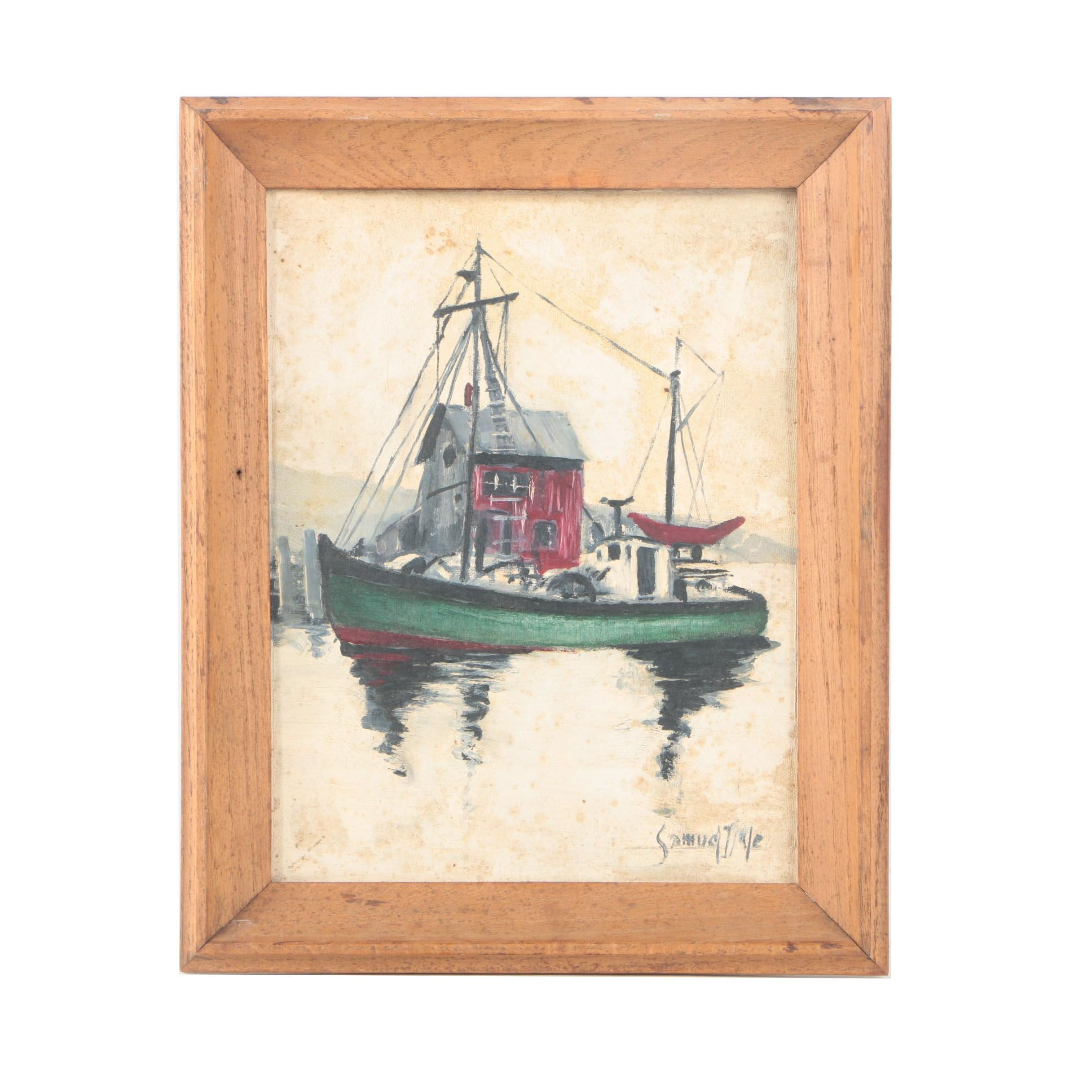 Oil on Canvas Board Painting of a Boat