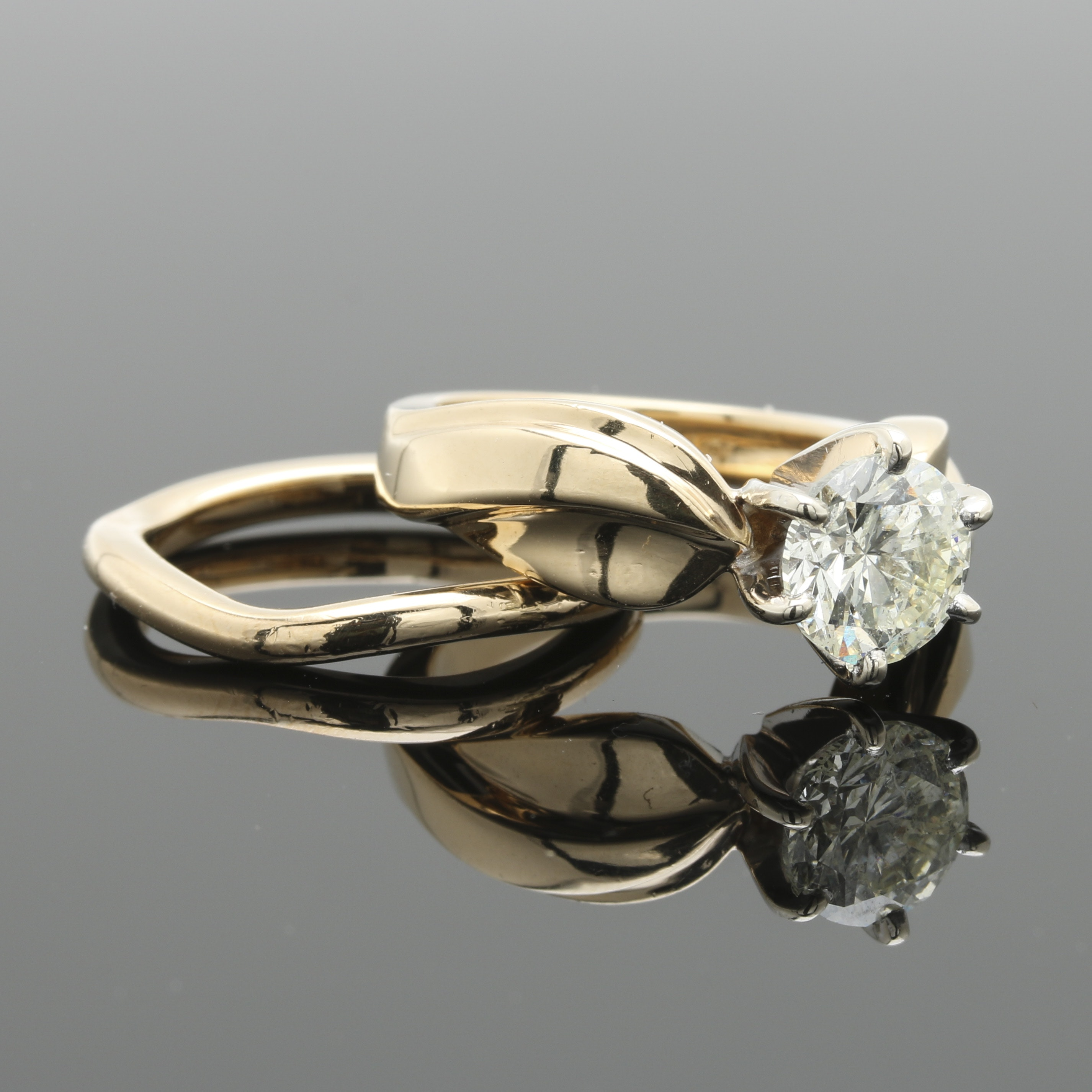 14K Yellow Gold 1.50 CT Diamond Bridal Ring Set