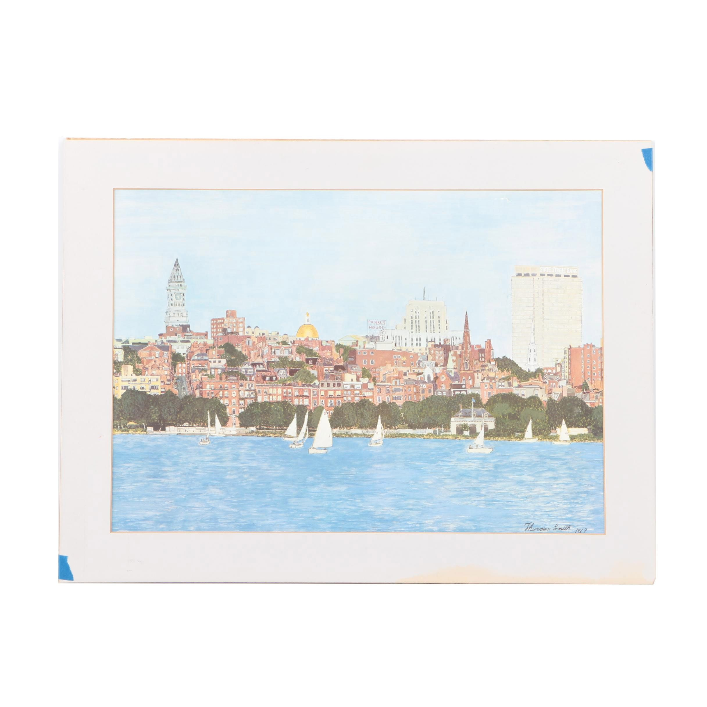 Thurman Smith Offset Lithograph of City Skyline