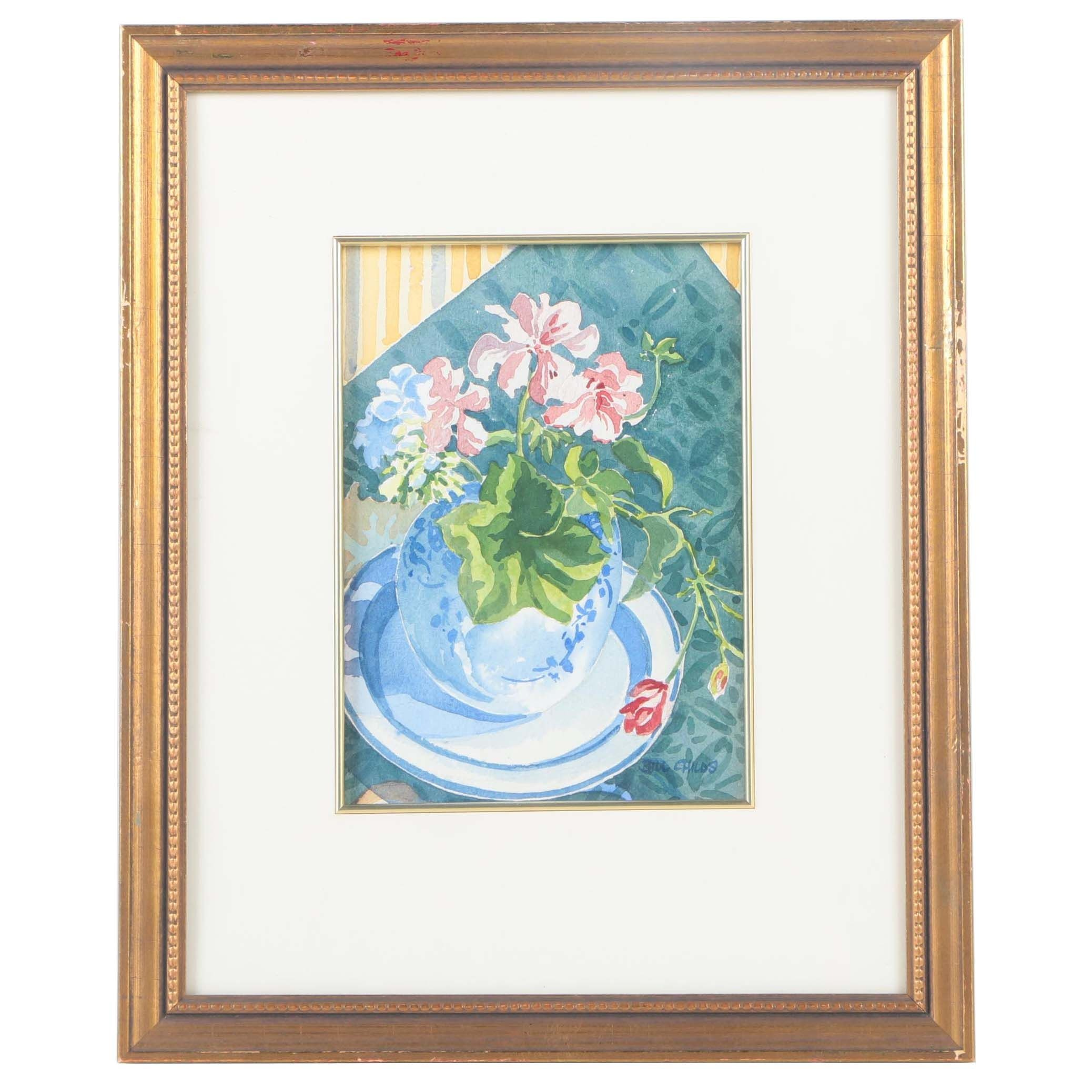 Bill Childs Watercolor Painting on Paper of Floral Still Life